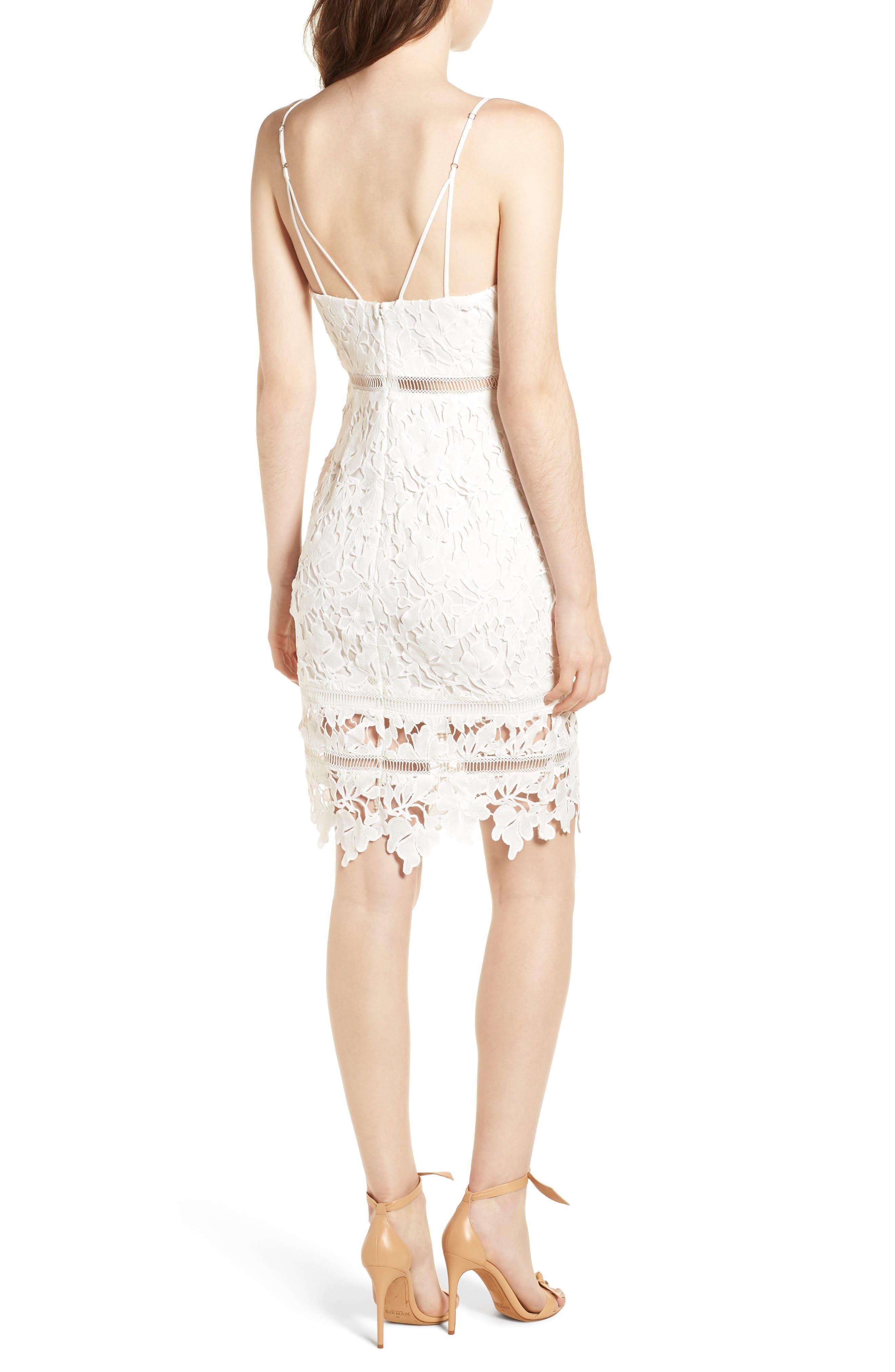 ASTR THE LABEL, ASTR Lace Bodycon Dress, Alternate thumbnail 2, color, WHITE