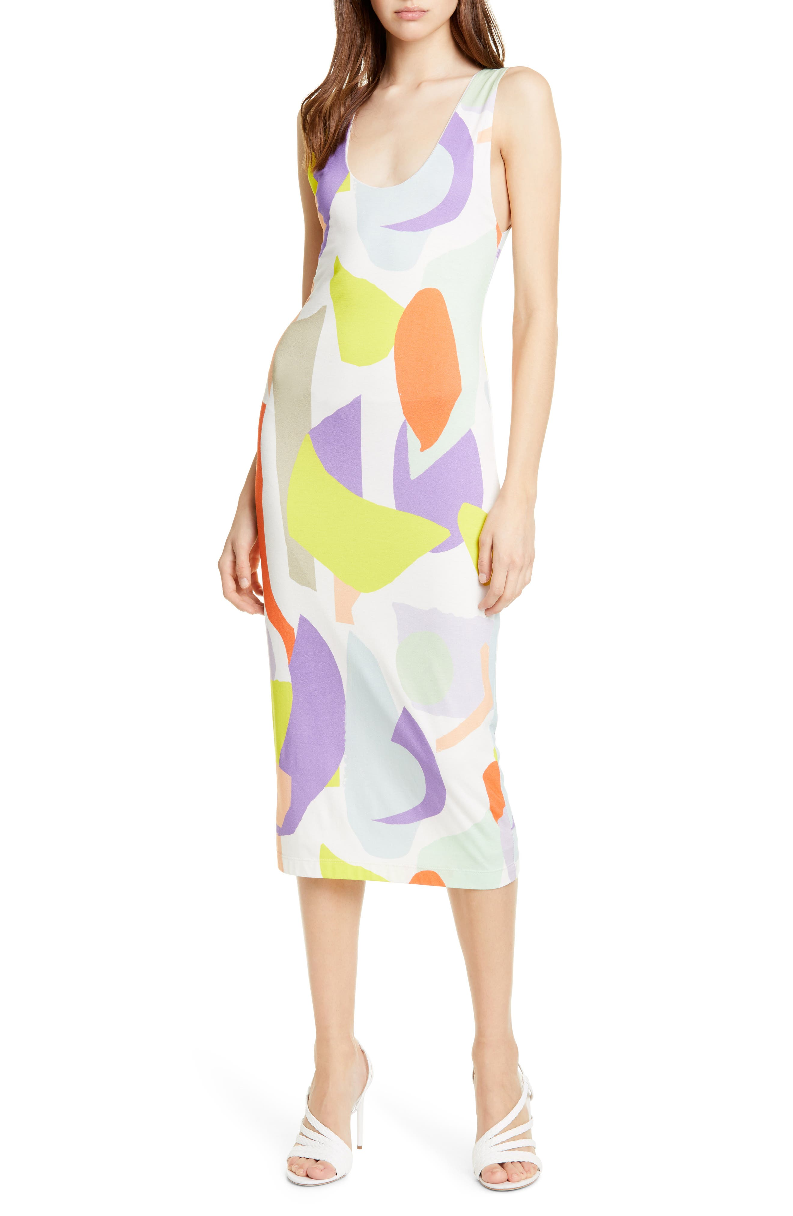 Alice + Olivia James Abstract Pattern Body-Con Tank Dress, Ivory