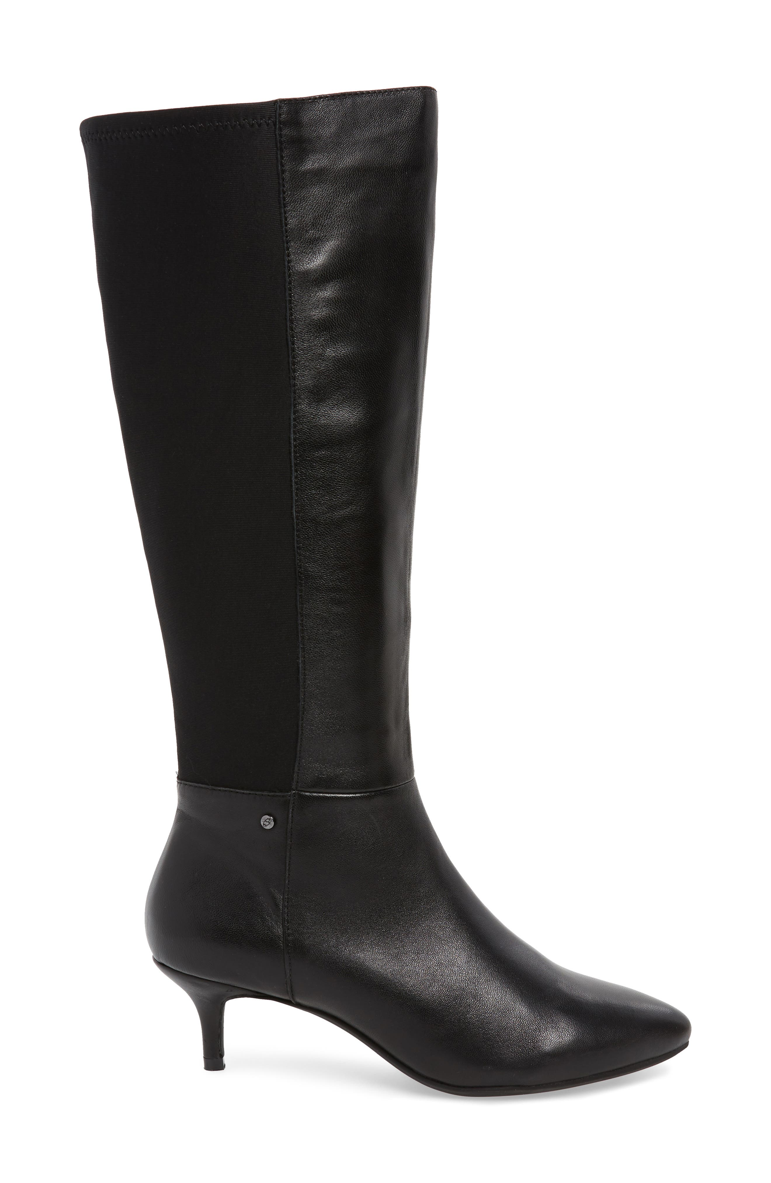 SUDINI, Beverly Stretch Back Knee High Boot, Alternate thumbnail 3, color, BLACK