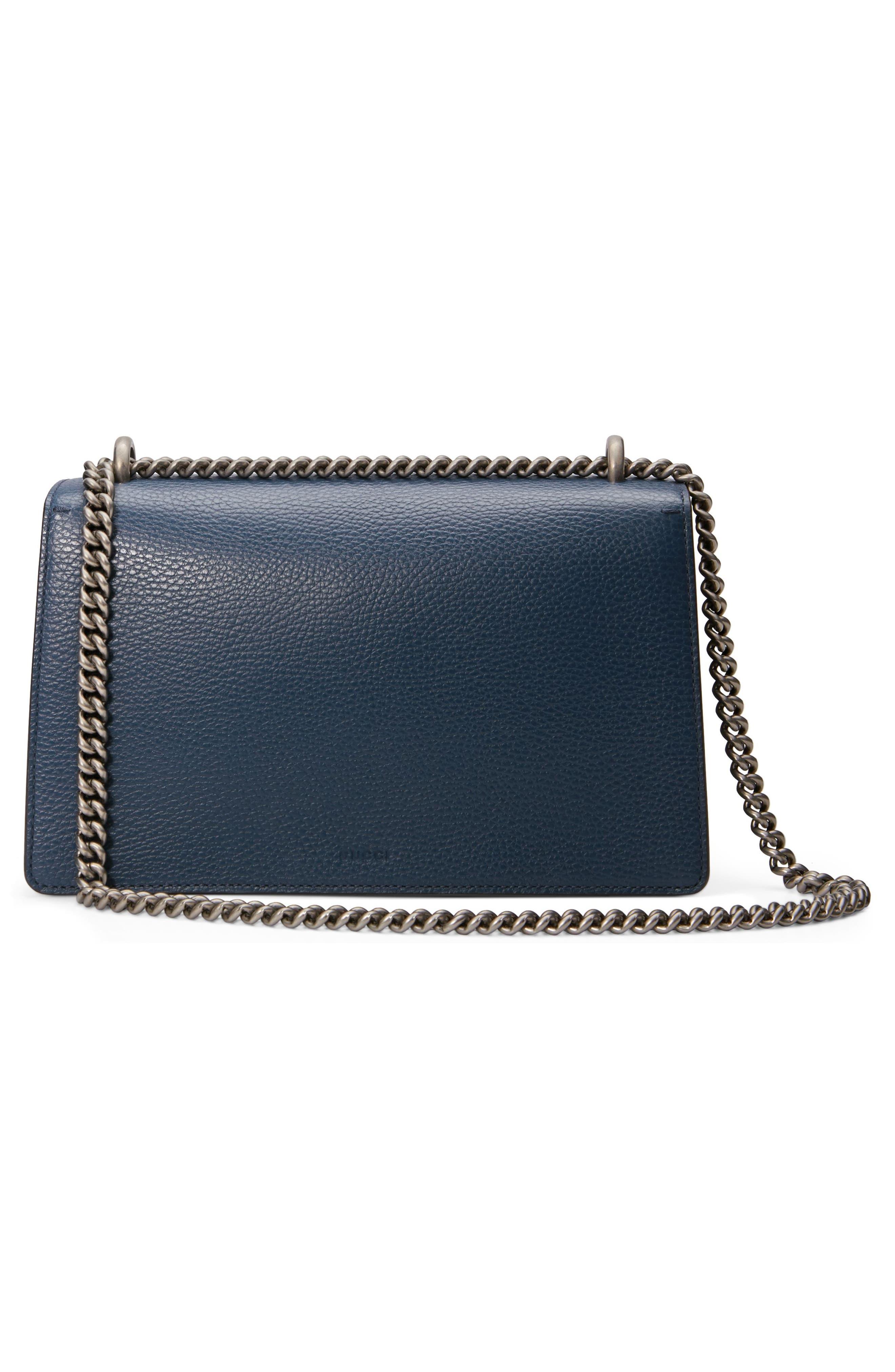 GUCCI, Small Dionysus Leather Shoulder Bag, Alternate thumbnail 2, color, BLU AGATA/ MONTANA