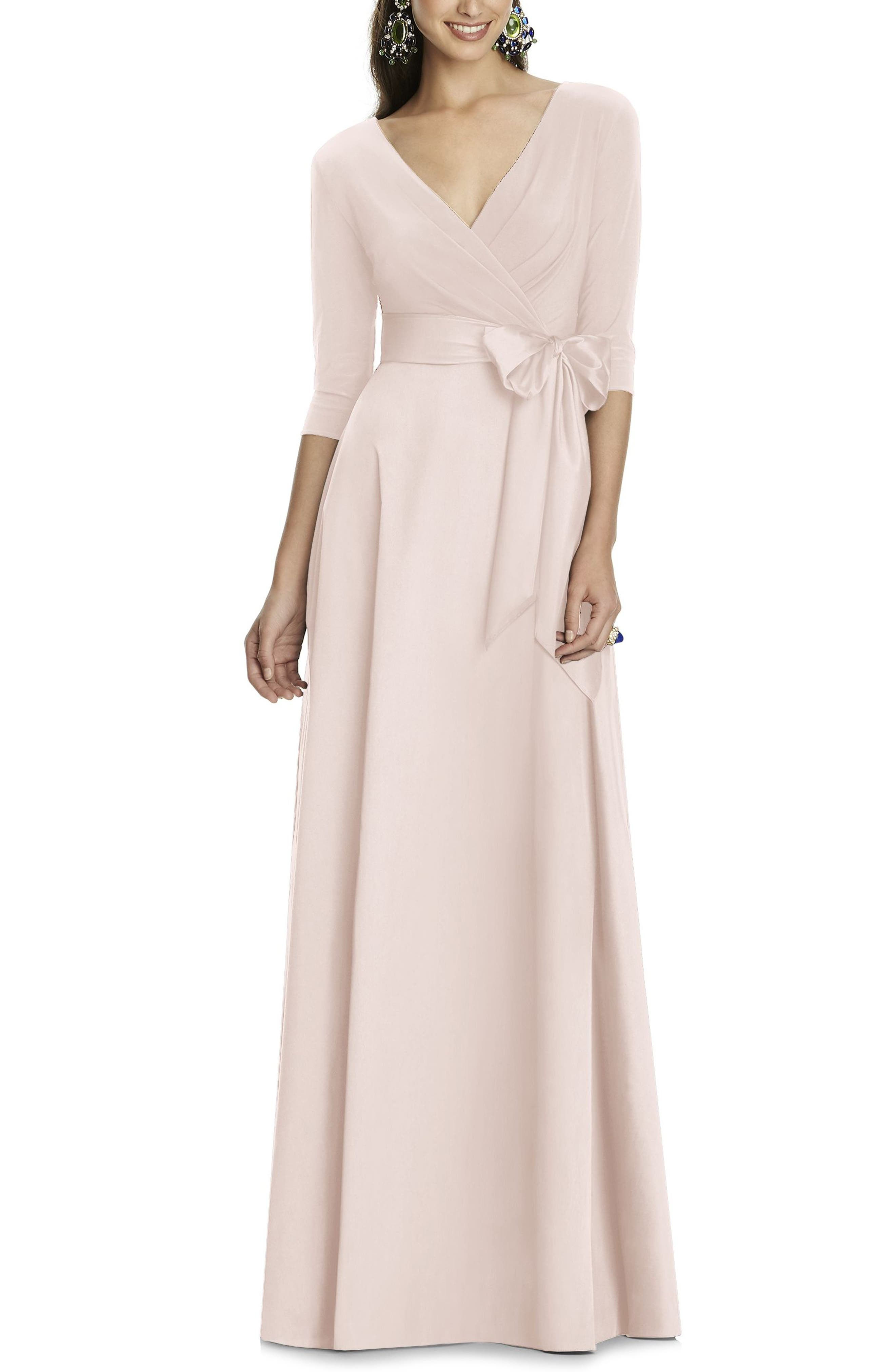 Alfred Sung Jersey & Mikado A-Line Gown, Pink