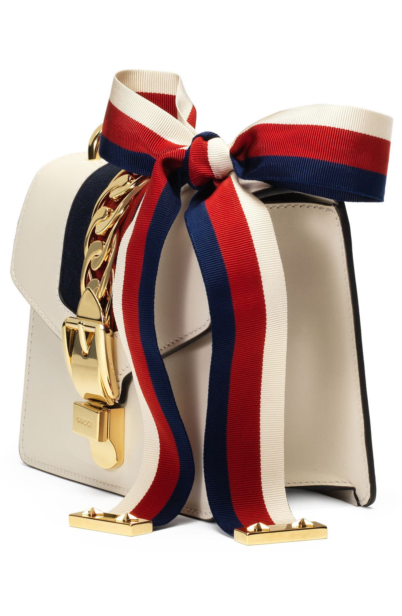 GUCCI, Mini Sylvie Leather Shoulder Bag, Alternate thumbnail 4, color, WHITE/ BLUE/ HIBISCUS RED