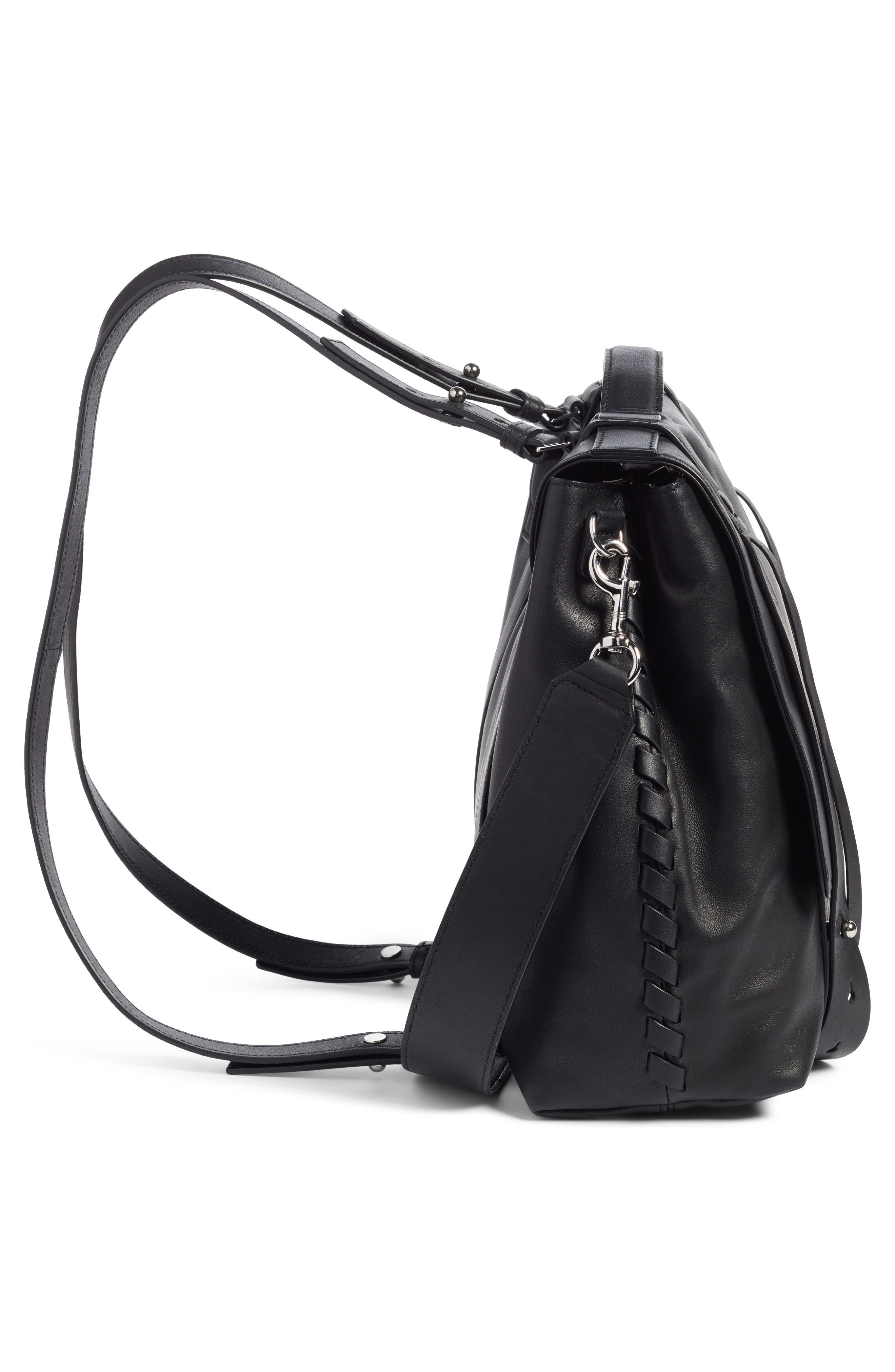 ALLSAINTS, Fin Leather Backpack, Alternate thumbnail 5, color, BLACK