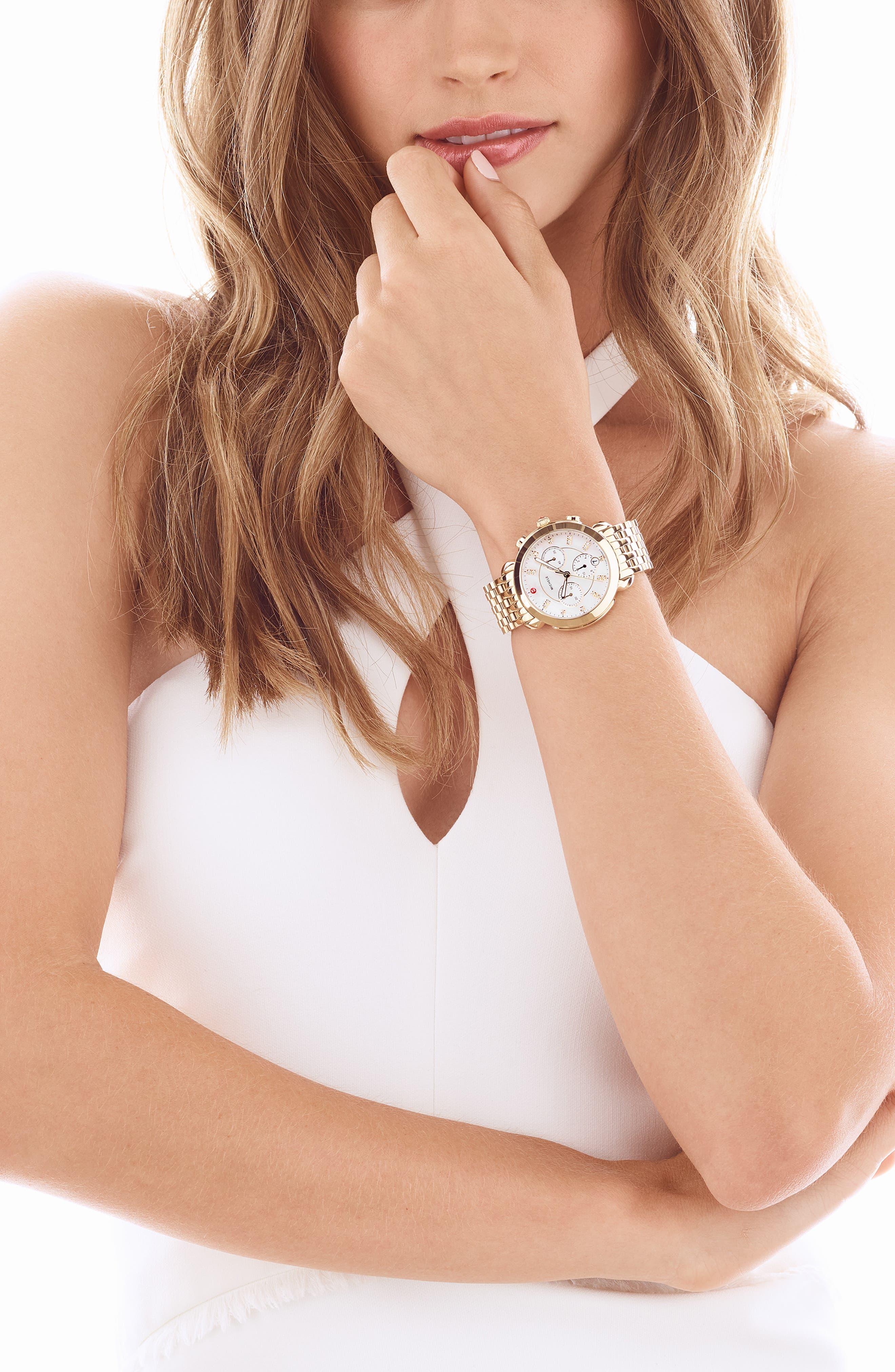 MICHELE, Sidney Chronograph Diamond Watch Head, 38mm, Main thumbnail 1, color, GOLD/ MOP
