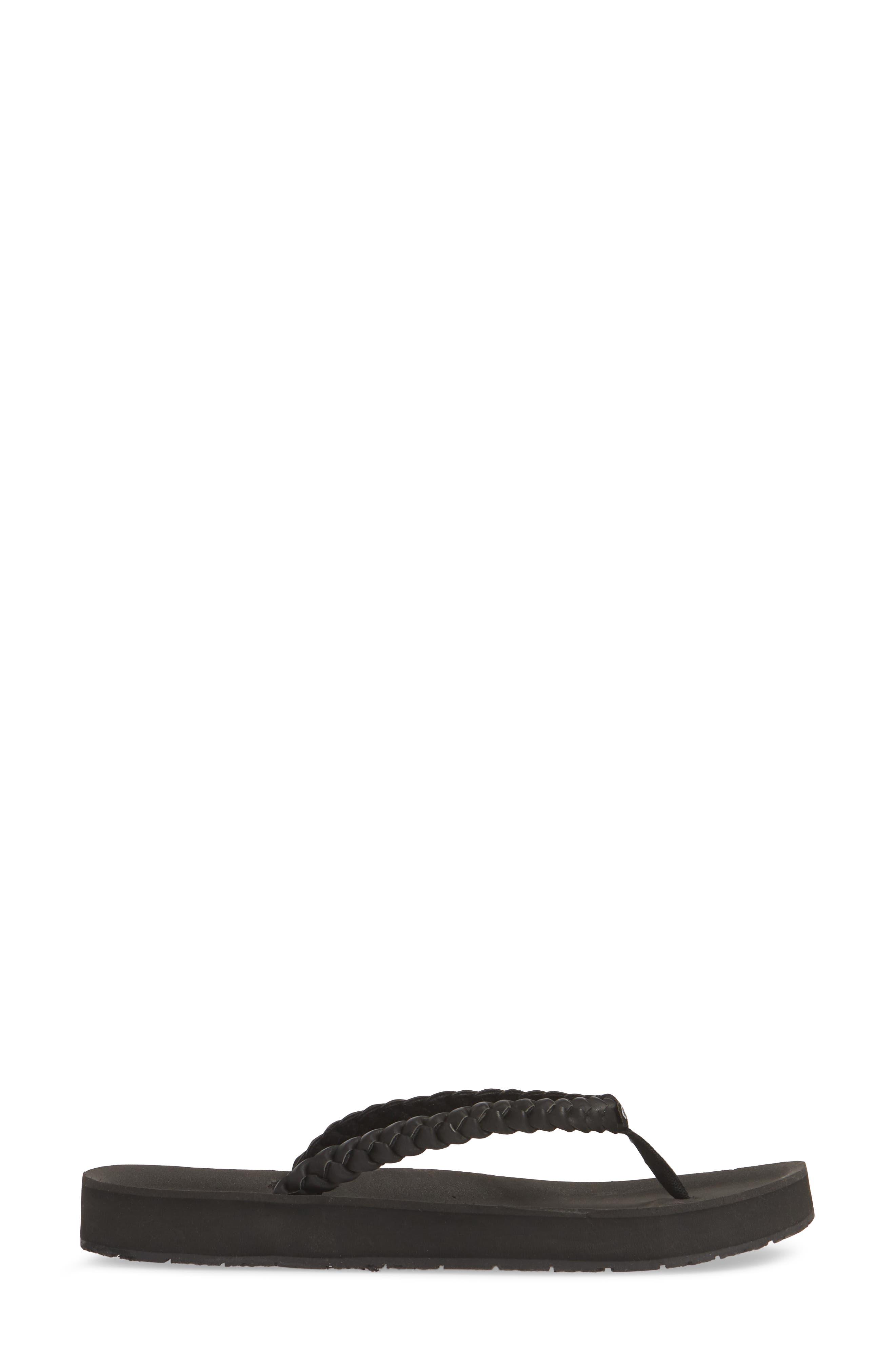 MINNETONKA, Hallie Flip Flop, Alternate thumbnail 3, color, BLACK