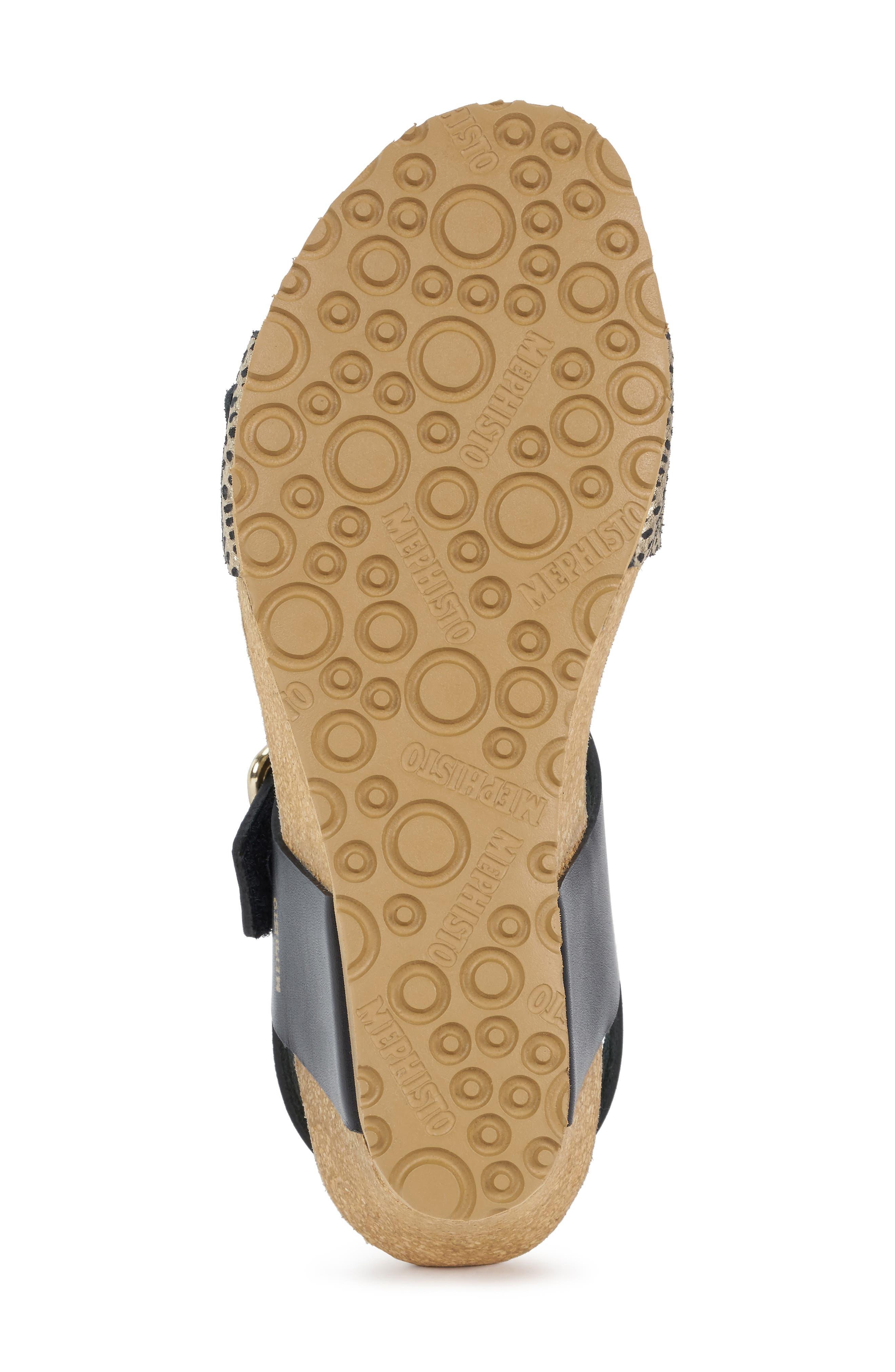 MEPHISTO, Lissandra Platform Wedge Sandal, Alternate thumbnail 6, color, BLACK/ GOLD LEATHER