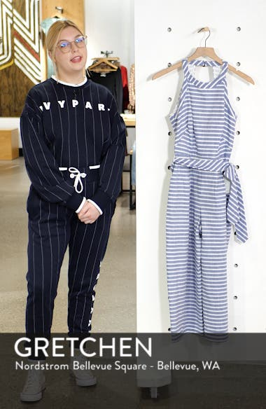 Halter Neck Stripe Crop Jumpsuit, sales video thumbnail