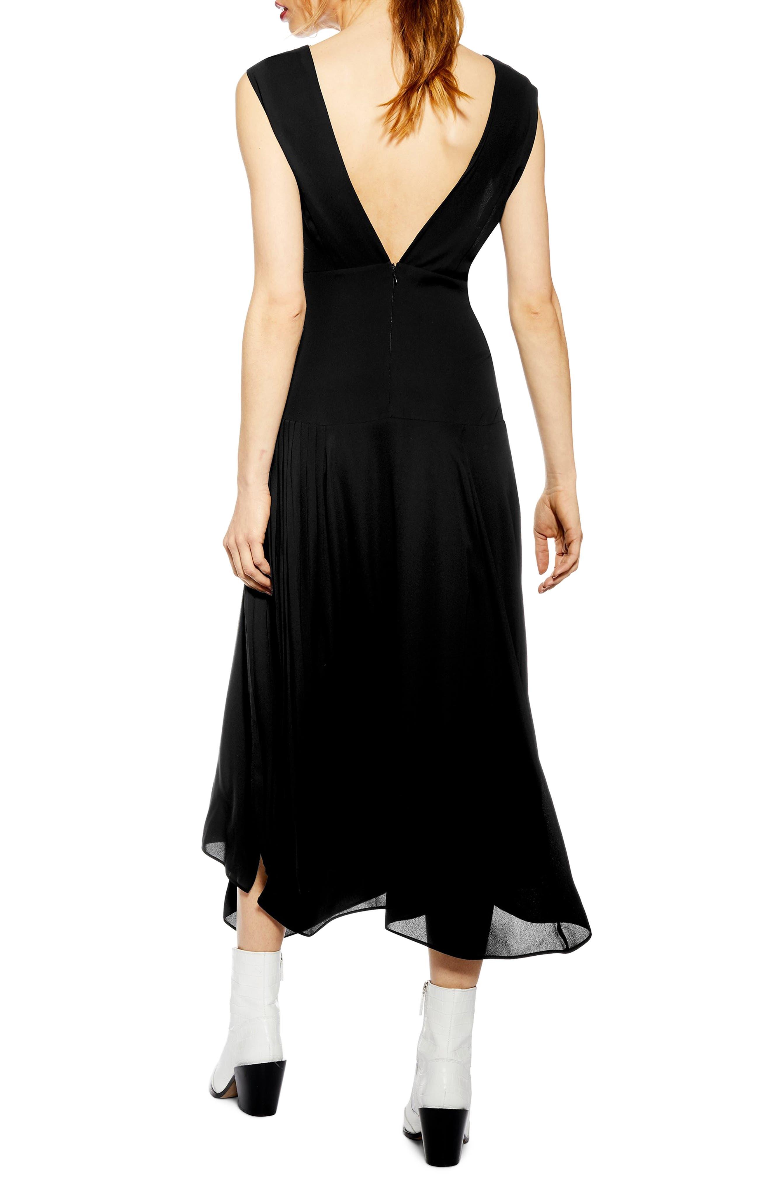 TOPSHOP, Pleated Pinafore Midi Dress, Alternate thumbnail 2, color, BLACK