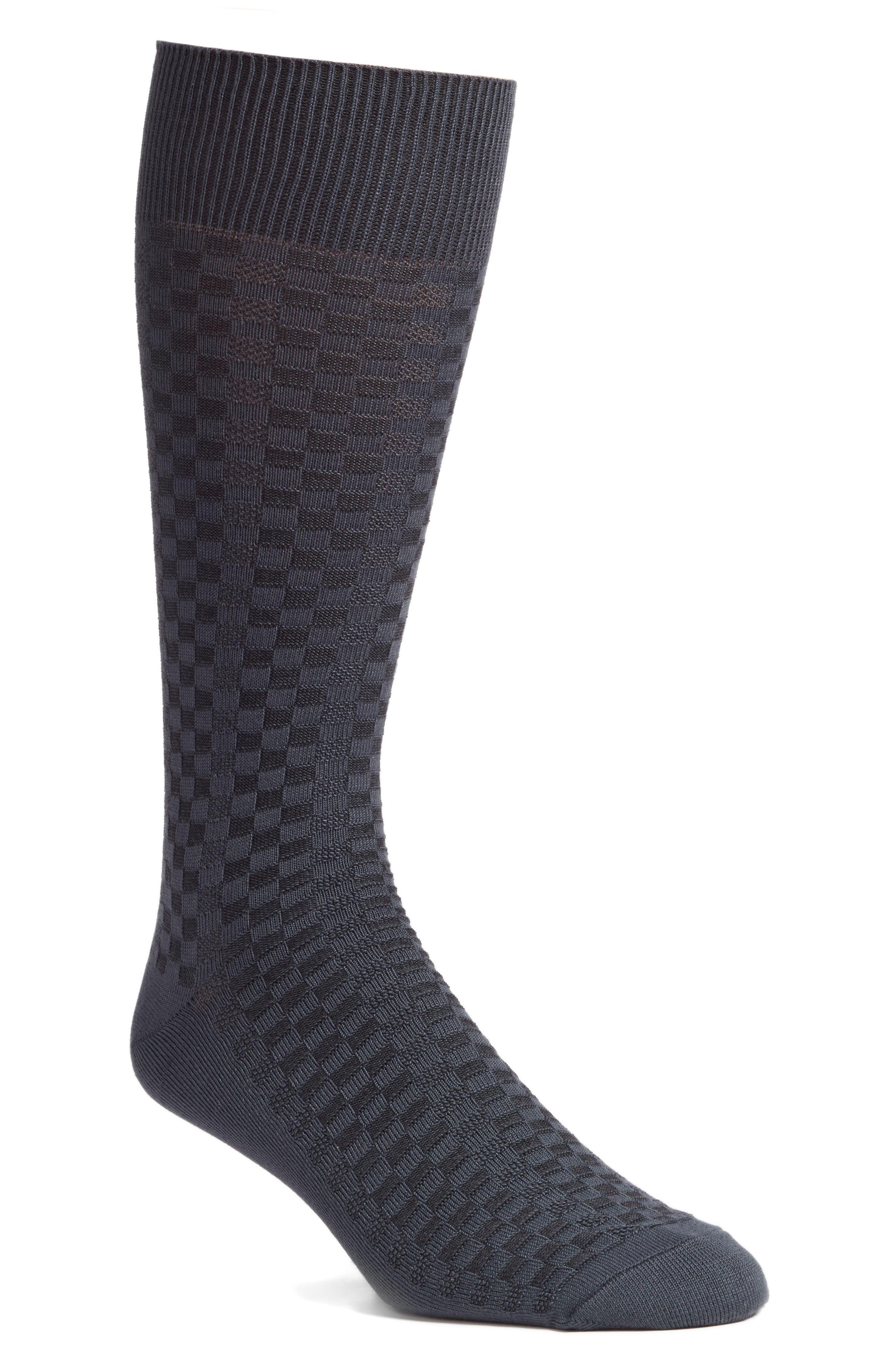 NORDSTROM MEN'S SHOP, Mini Check Ultrasoft Socks, Main thumbnail 1, color, CHARCOAL MARL