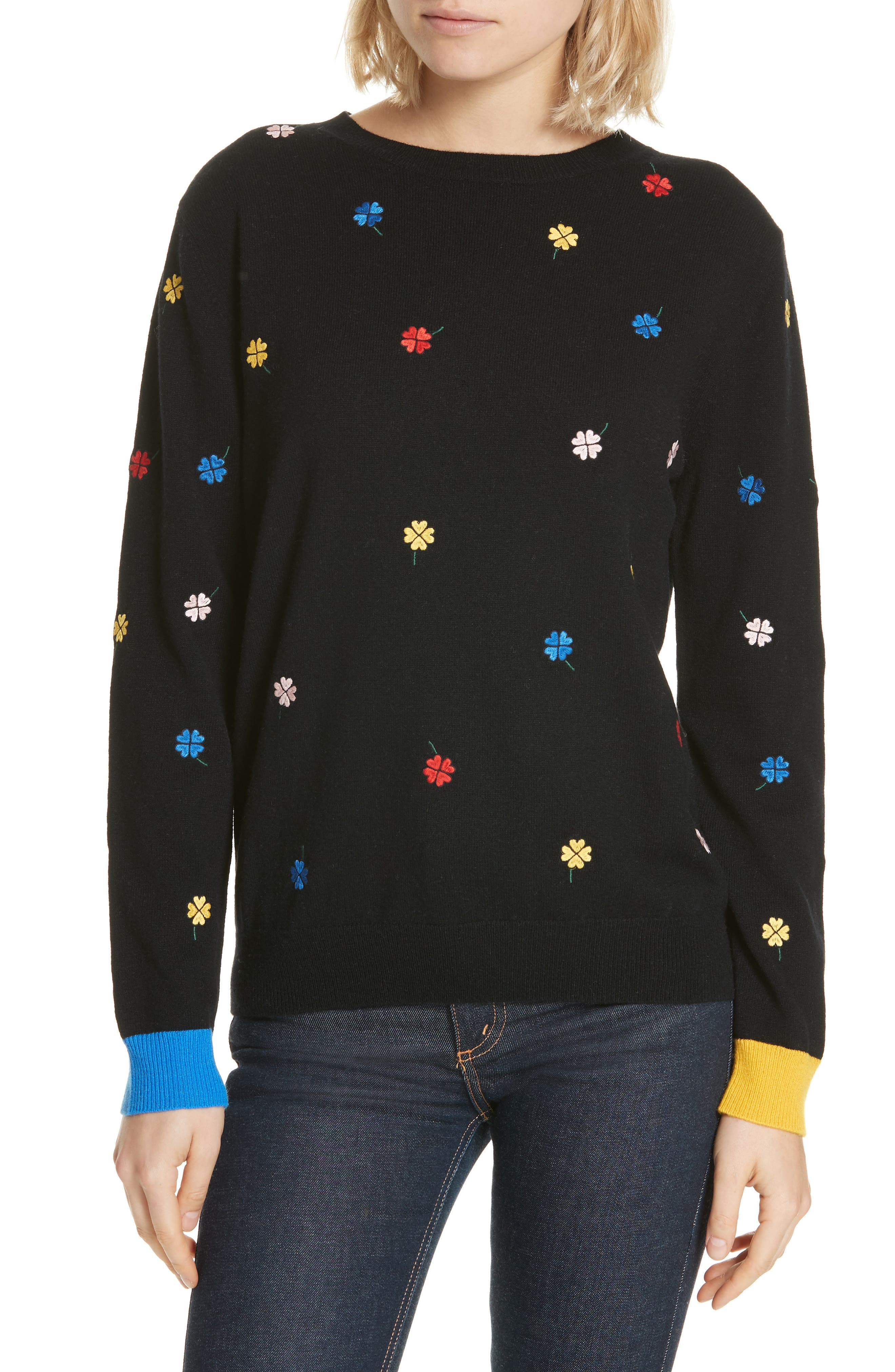 Chinti & Parker Embroidered Clover Cashmere & Wool Sweater, Black