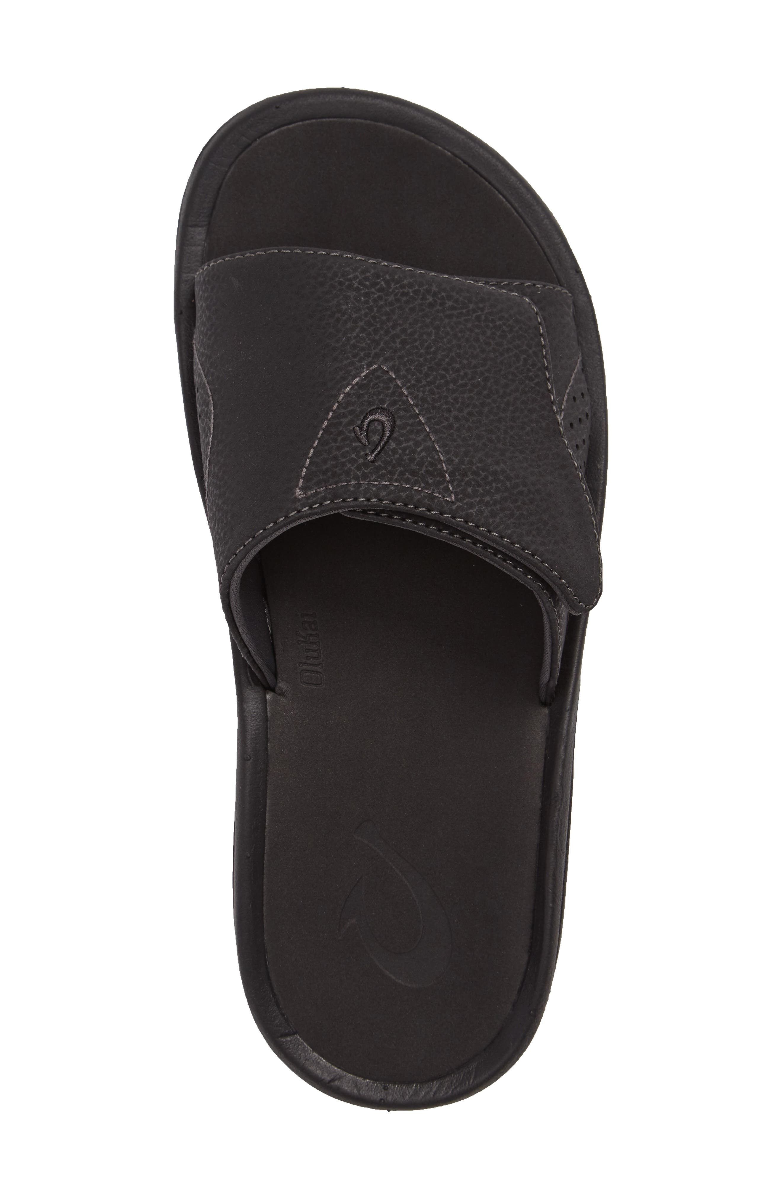 OLUKAI, Nalu Slide Sandal, Alternate thumbnail 3, color, BLACK/ BLACK