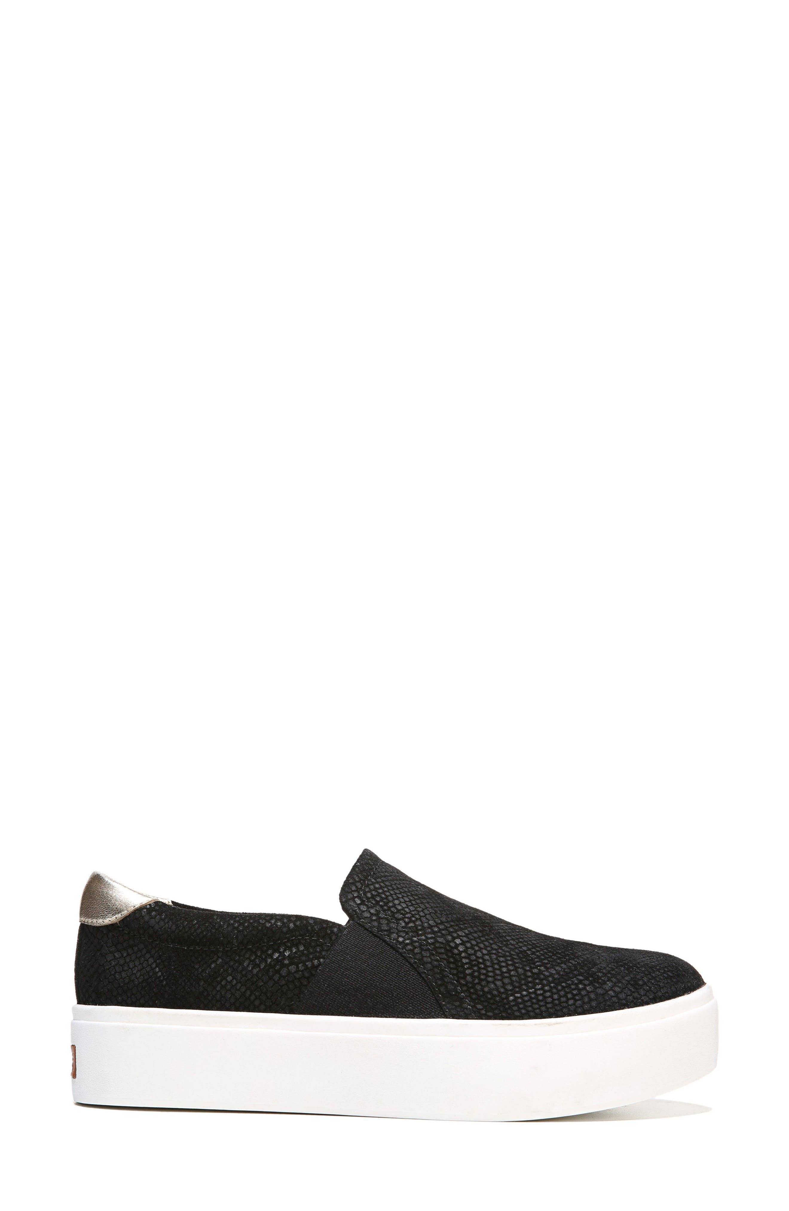 DR. SCHOLL'S, Abbot Slip-On Sneaker, Alternate thumbnail 3, color, BLACK SUEDE
