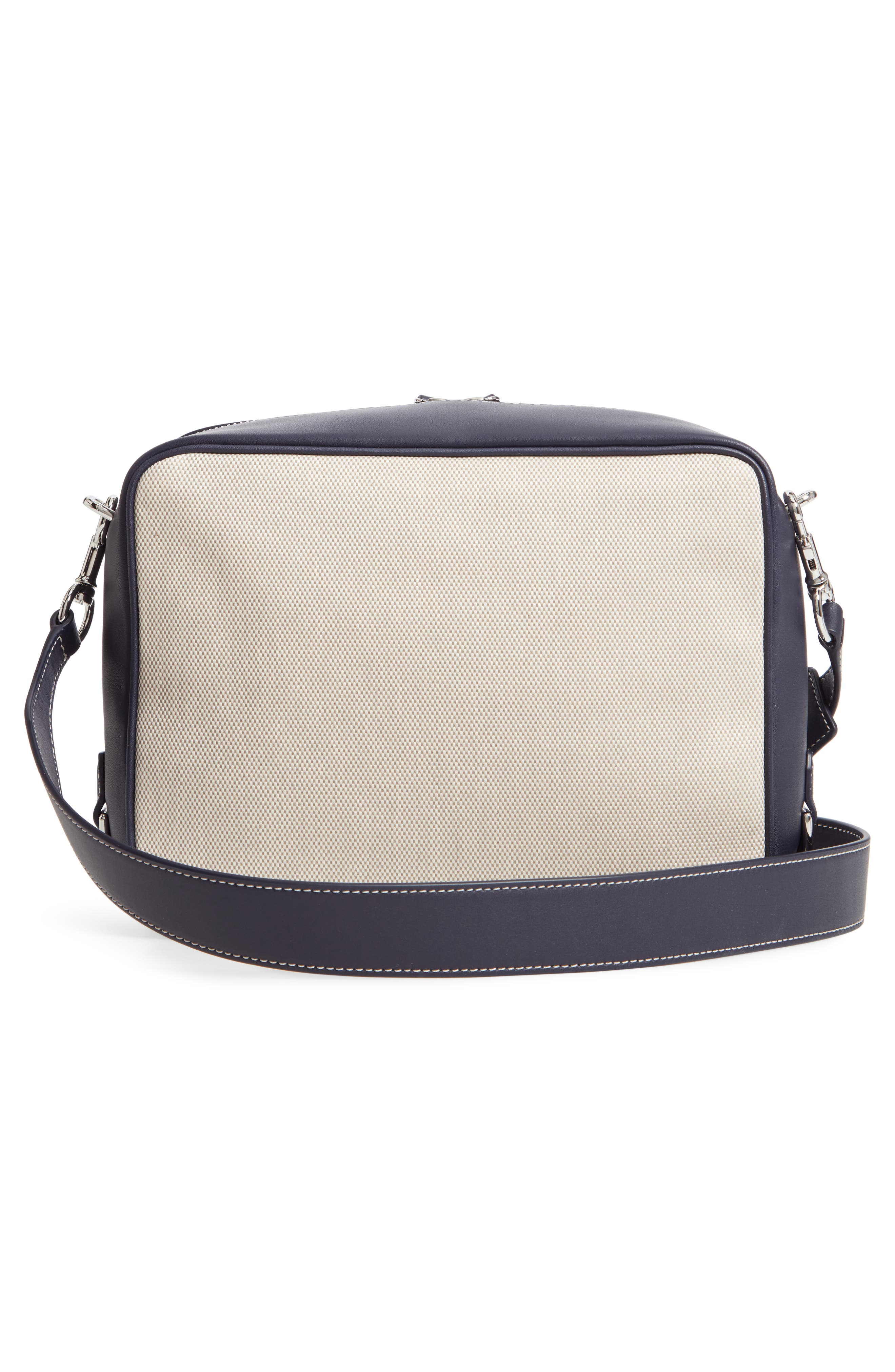 TORY BURCH, Leather & Canvas Camera Bag, Alternate thumbnail 4, color, MIDNIGHT