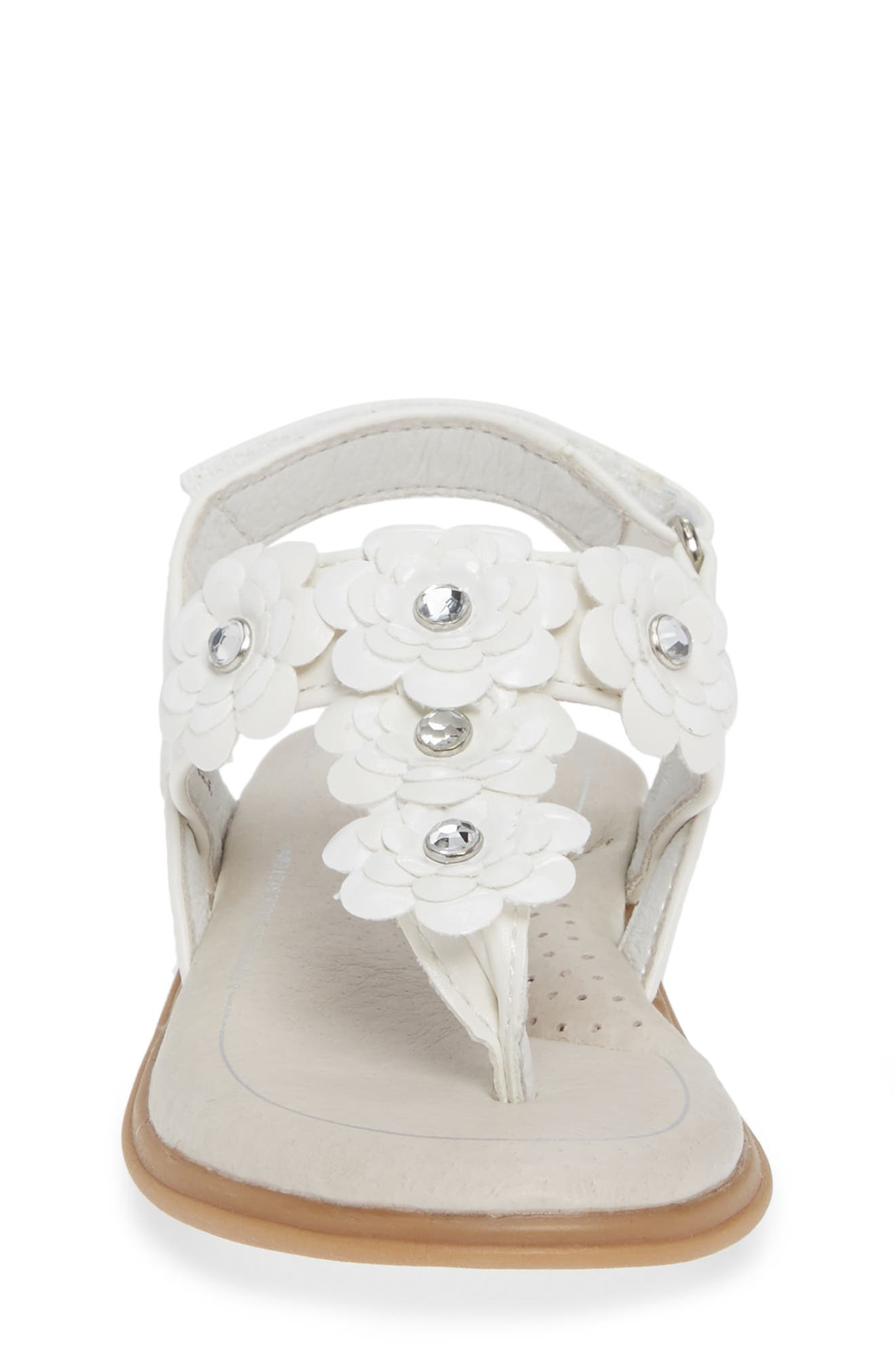 SOLE PLAY, Cora Floral Embellished Sandal, Alternate thumbnail 4, color, WHITE