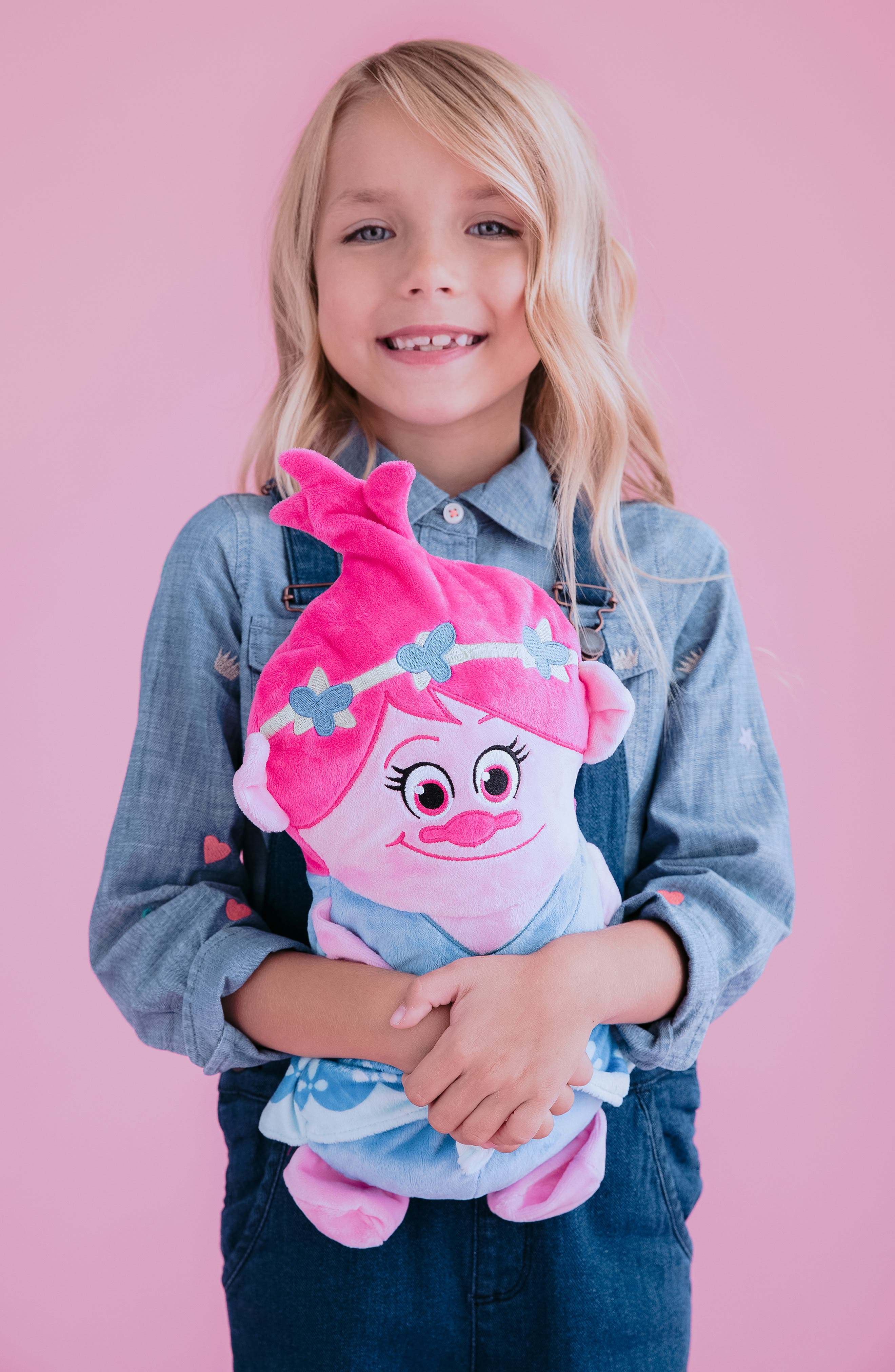 CUBCOATS, DreamWorks Trolls Poppy 2-in-1 Stuffed Animal Hoodie, Alternate thumbnail 9, color, PINK MIX