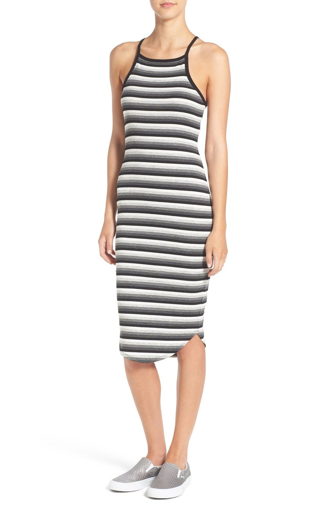 SOPRANO, Stripe Rib Knit Midi Dress, Main thumbnail 1, color, 001