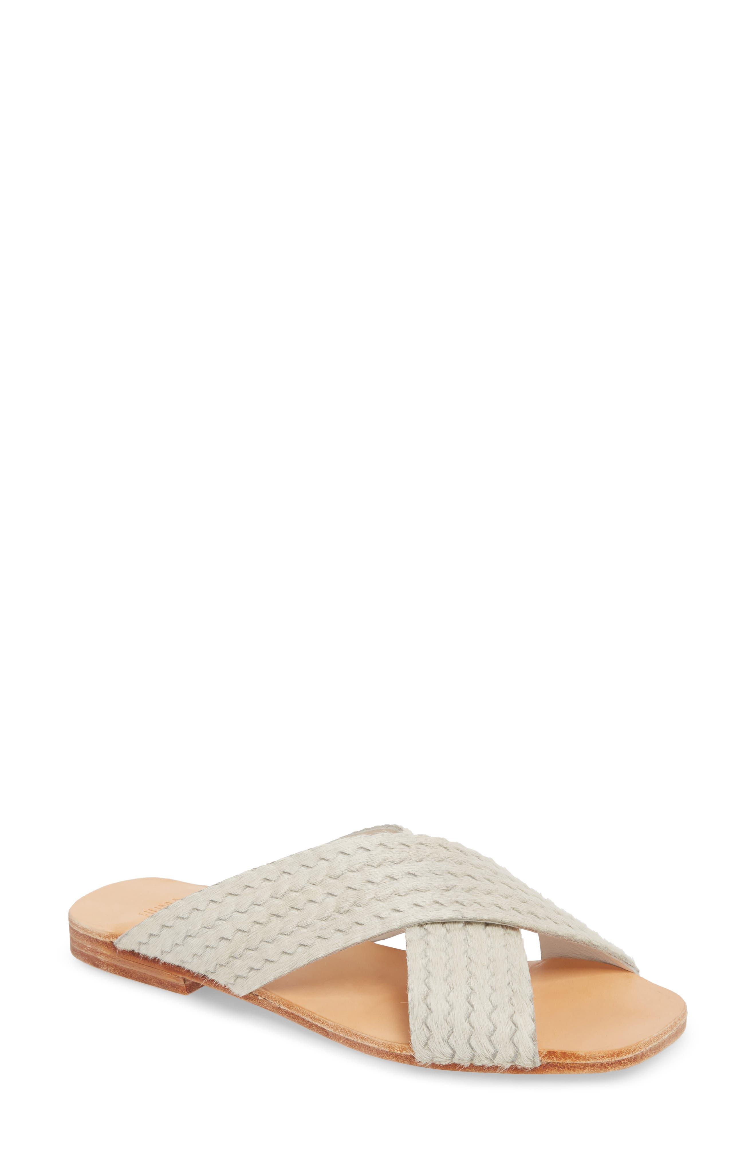 Huma Blanco Odessa Genuine Calf Hair Slide Sandal, White