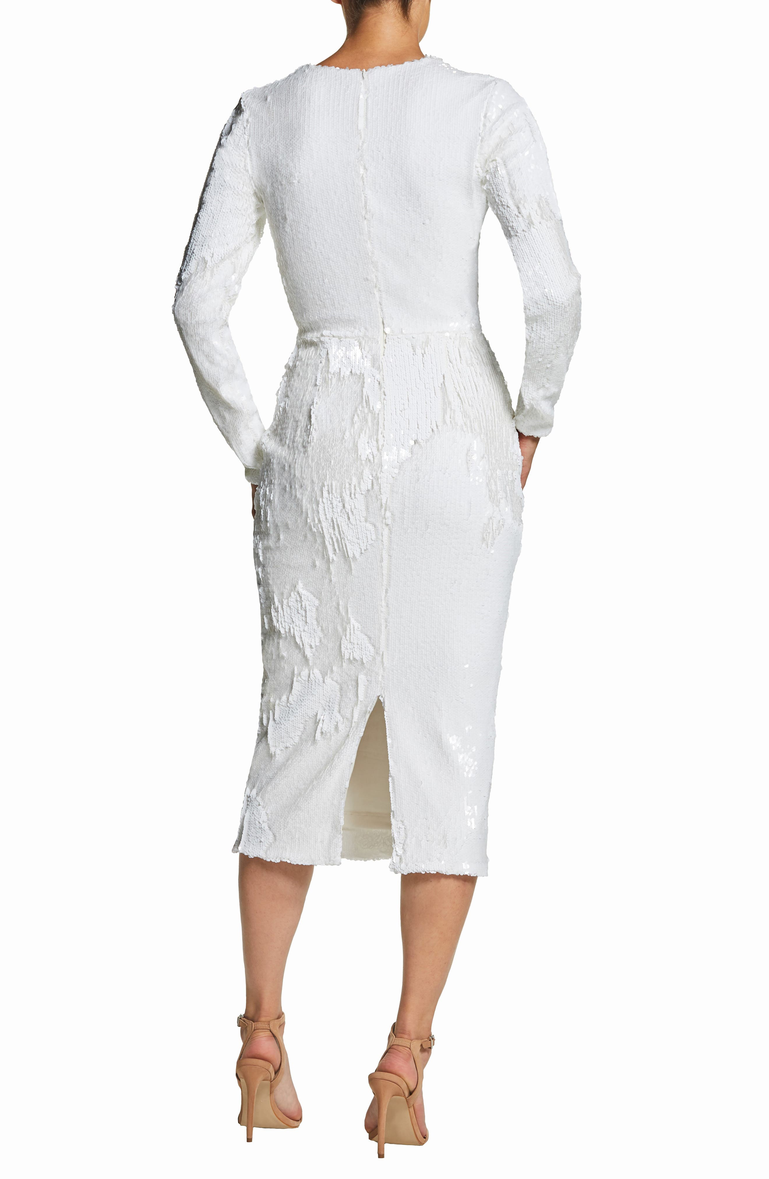 DRESS THE POPULATION, Elizabeth Plunge Midi Dress, Alternate thumbnail 2, color, LILY