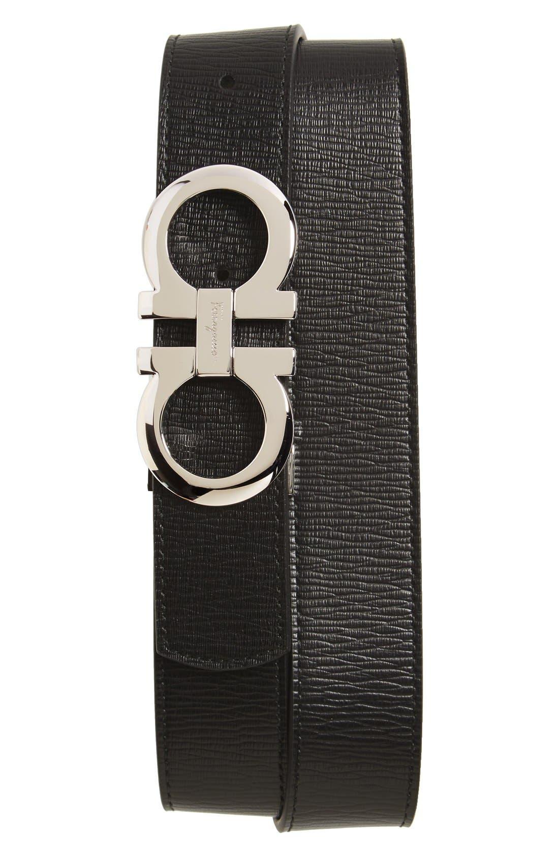 SALVATORE FERRAGAMO, Revival Reversible Leather Belt, Main thumbnail 1, color, BLACK/BROWN