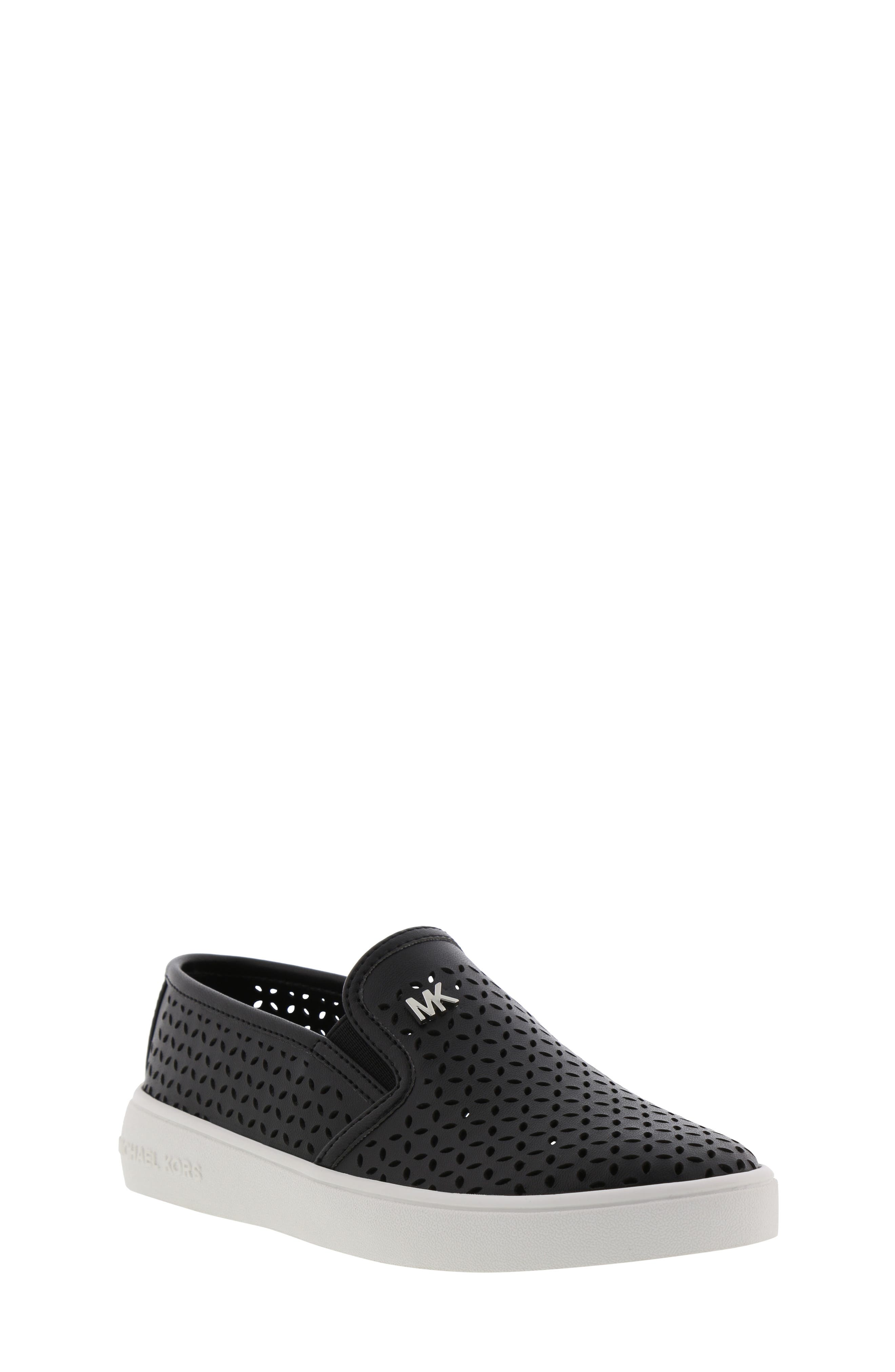MICHAEL MICHAEL KORS, Jem Olivia Perforated Slip-On Sneaker, Main thumbnail 1, color, BLACK