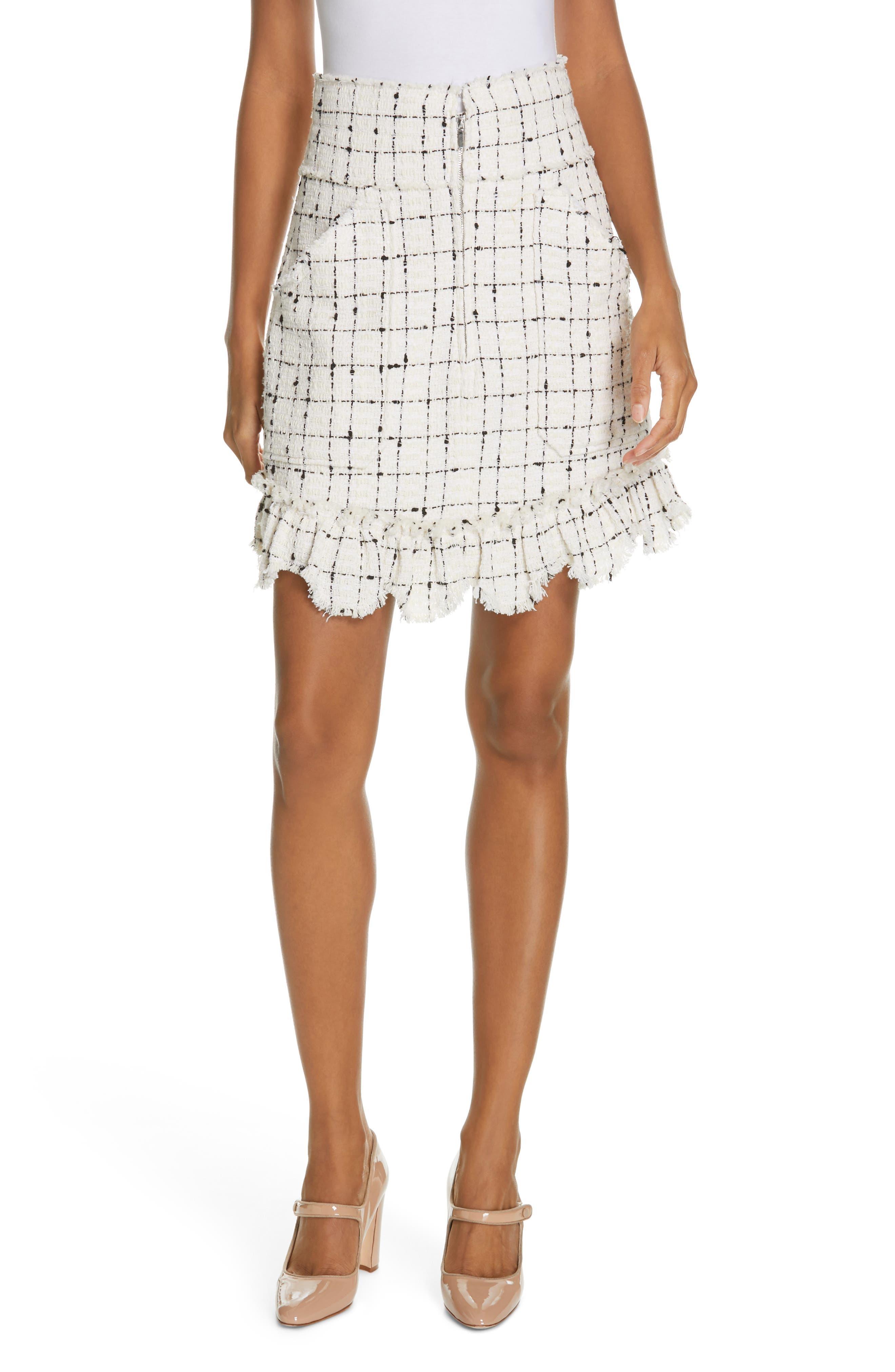 REBECCA TAYLOR Scallop Hem Tweed Skirt, Main, color, CREAM COMBO