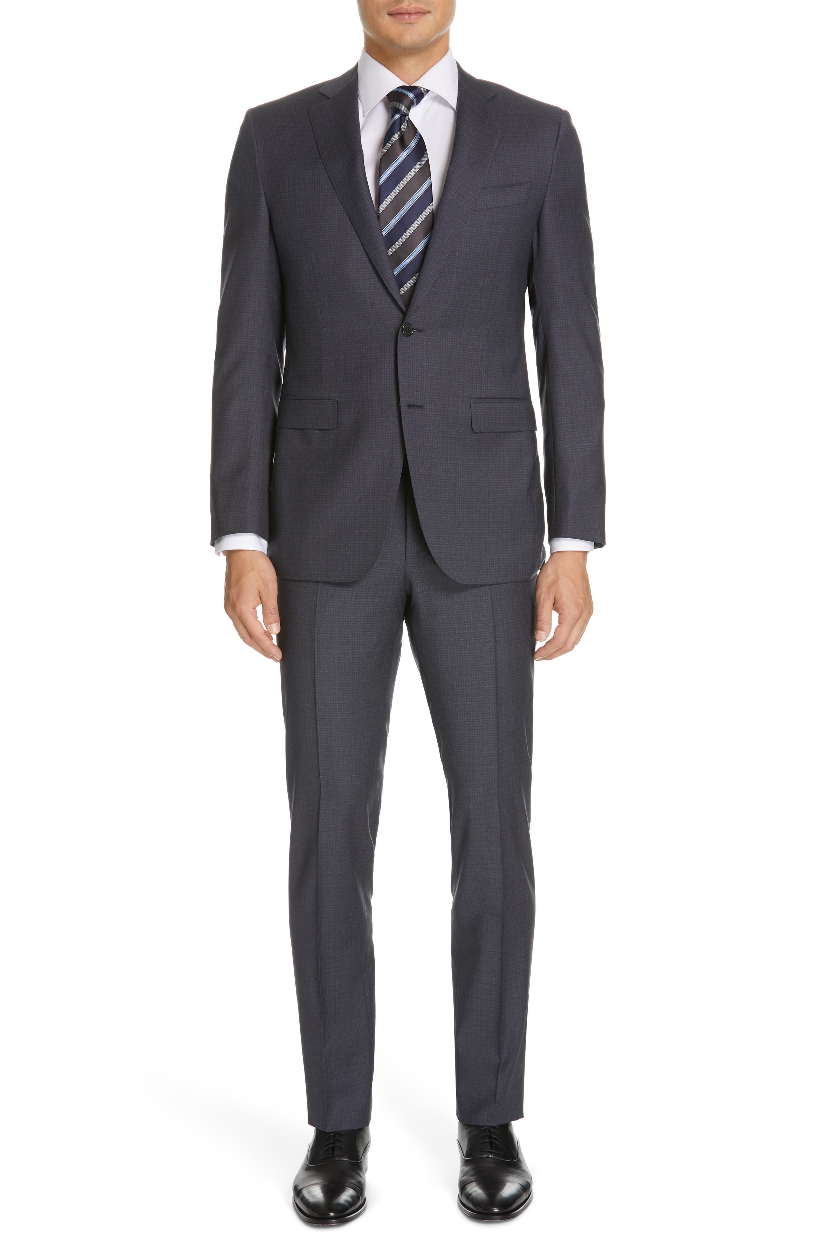 CANALI Milano Classic Fit Check Wool Suit, Main, color, CHARCOAL