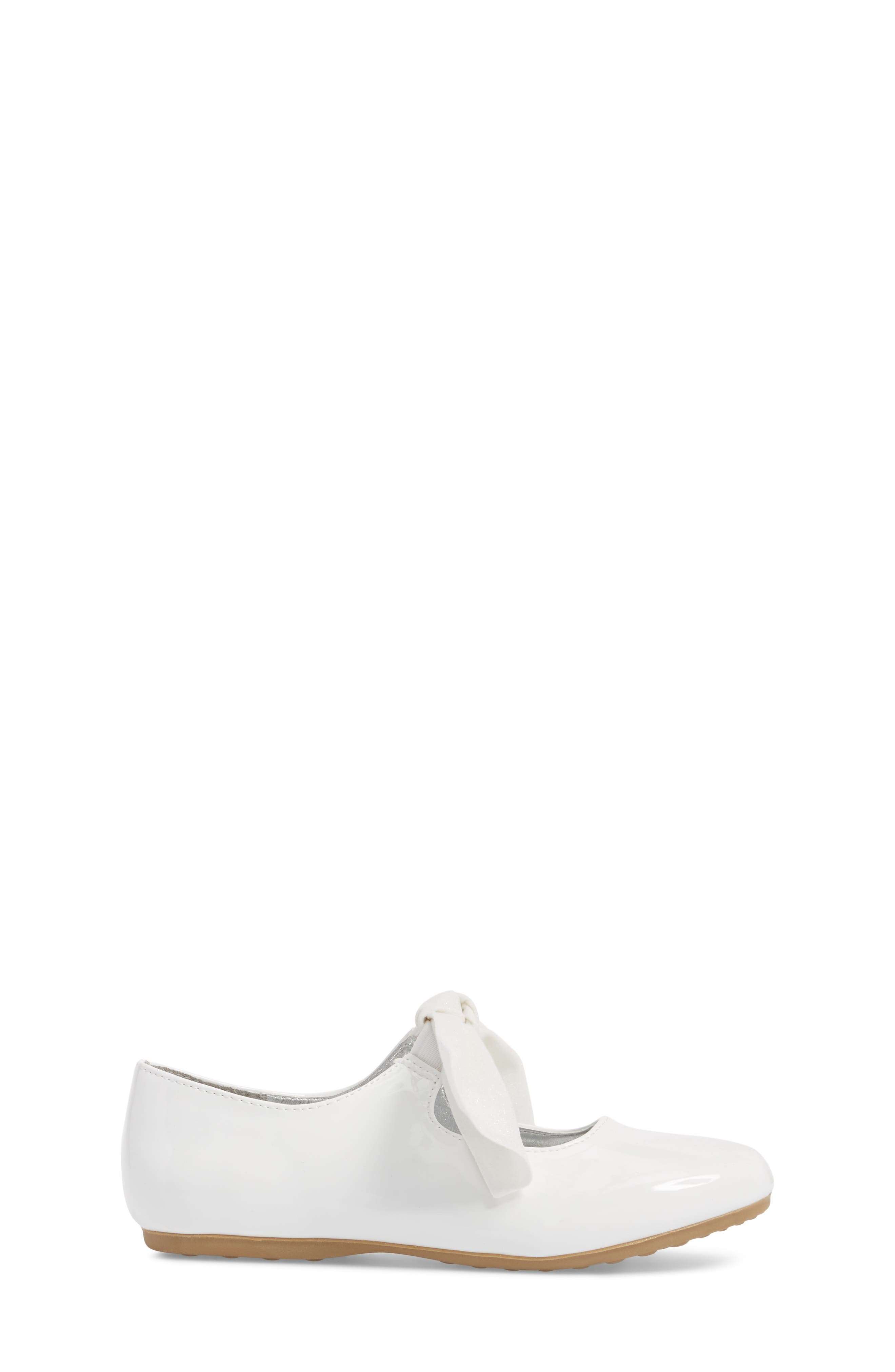 KENNETH COLE NEW YORK, Reaction Kenneth Cole Rose Bow Mary Jane Flat, Alternate thumbnail 3, color, WHITE PATENT