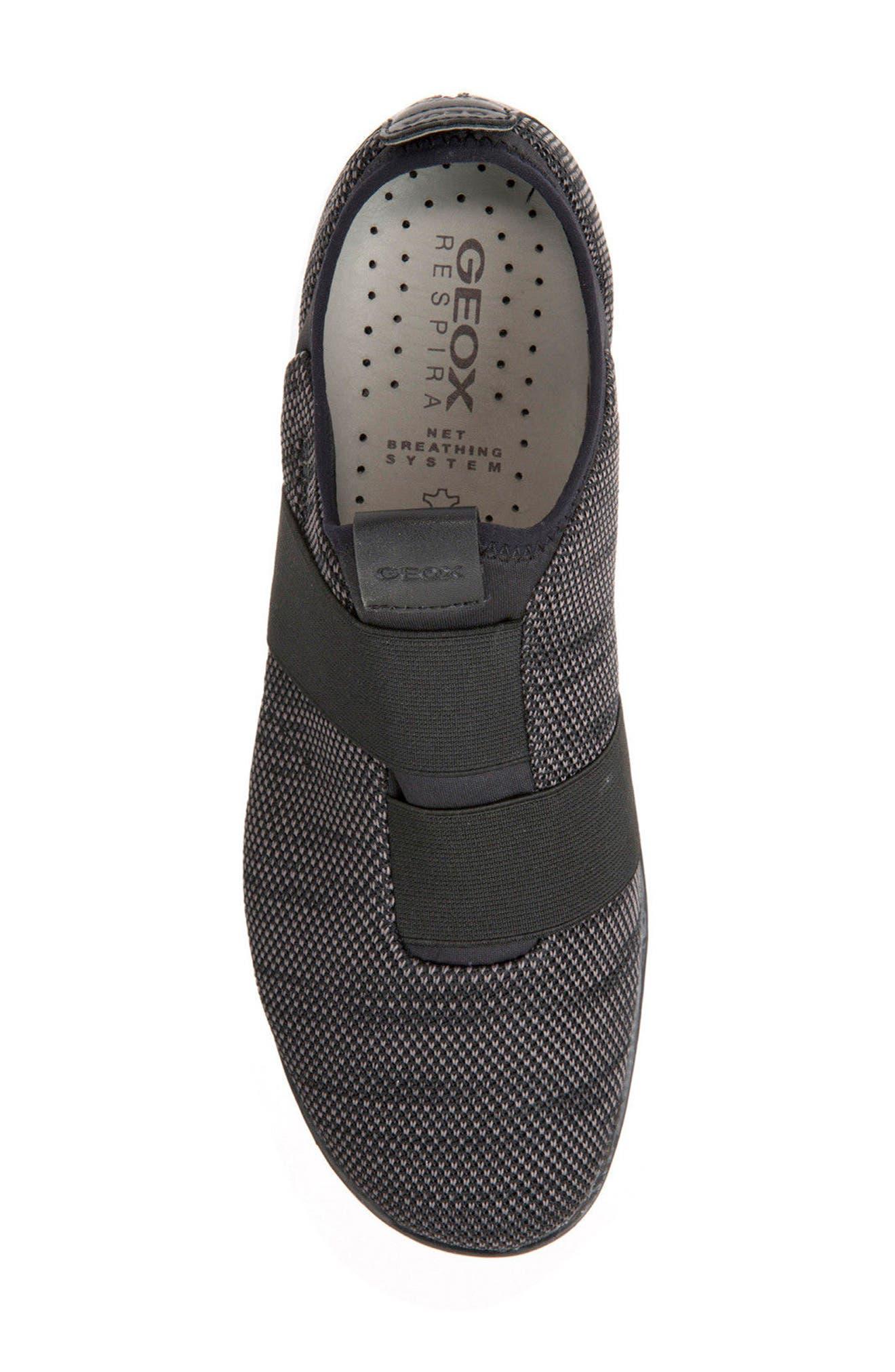 GEOX, Nebula 45 Banded Slip-On Sneaker, Alternate thumbnail 5, color, BLACK