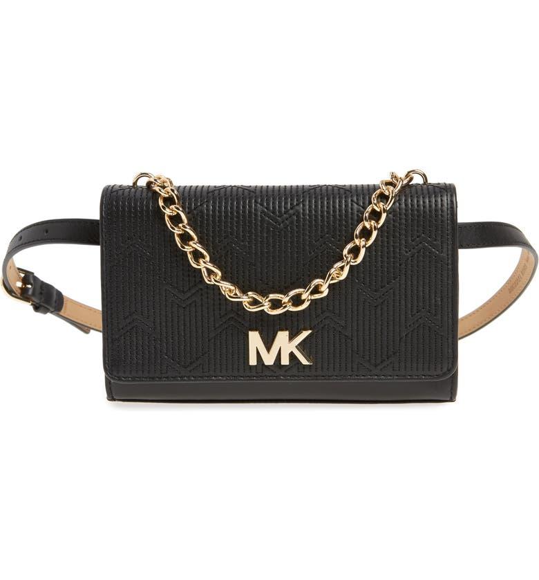 d3479f998424 MICHAEL MICHAEL KORS Deco M Quilted Leather Belt Bag, Main, color, BLACK
