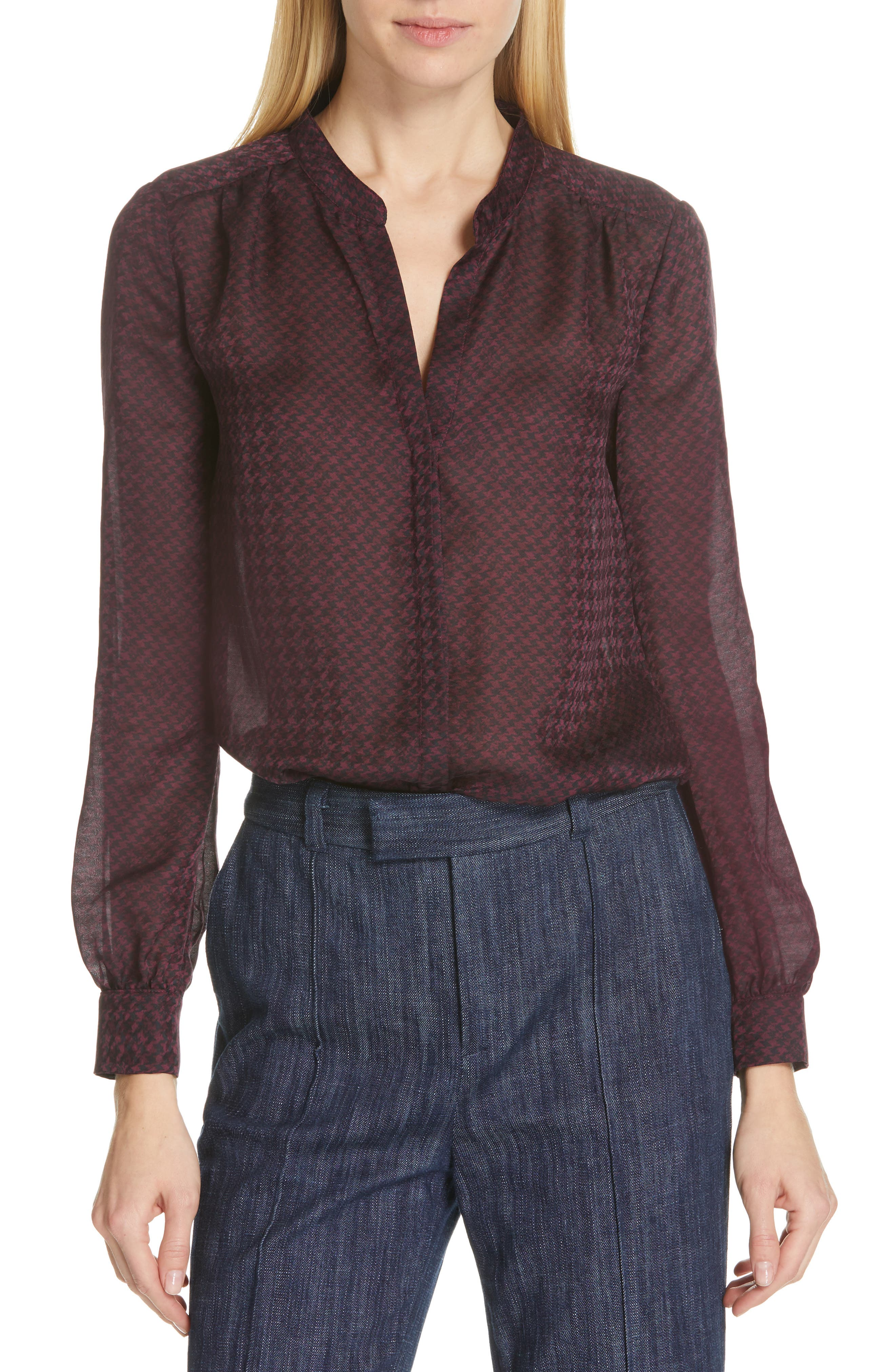 JOIE, Mintee Houndstooth Check Blouse, Main thumbnail 1, color, 501