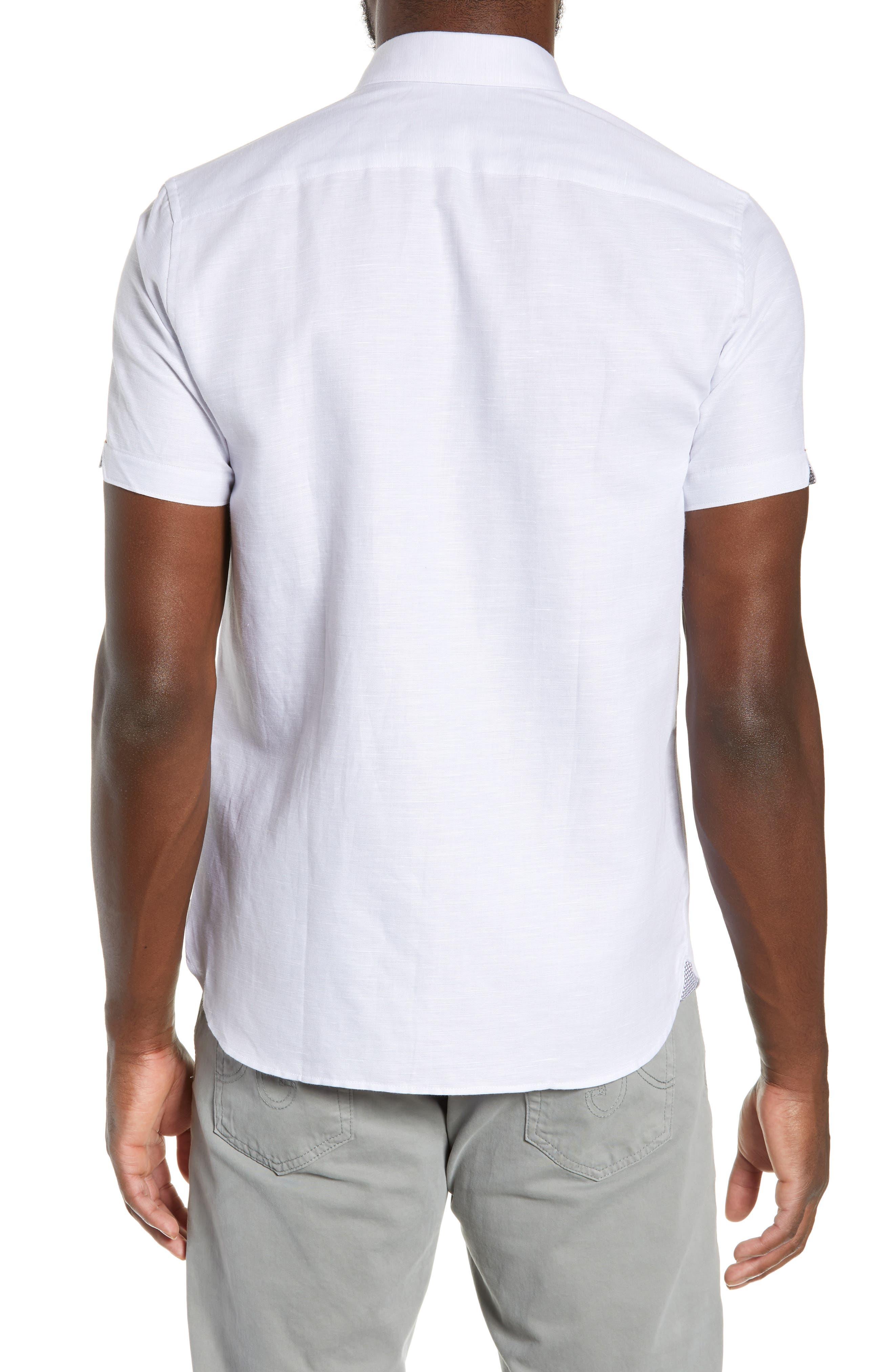 TED BAKER LONDON, Graphit Slim Fit Cotton & Linen Sport Shirt, Alternate thumbnail 3, color, GREY