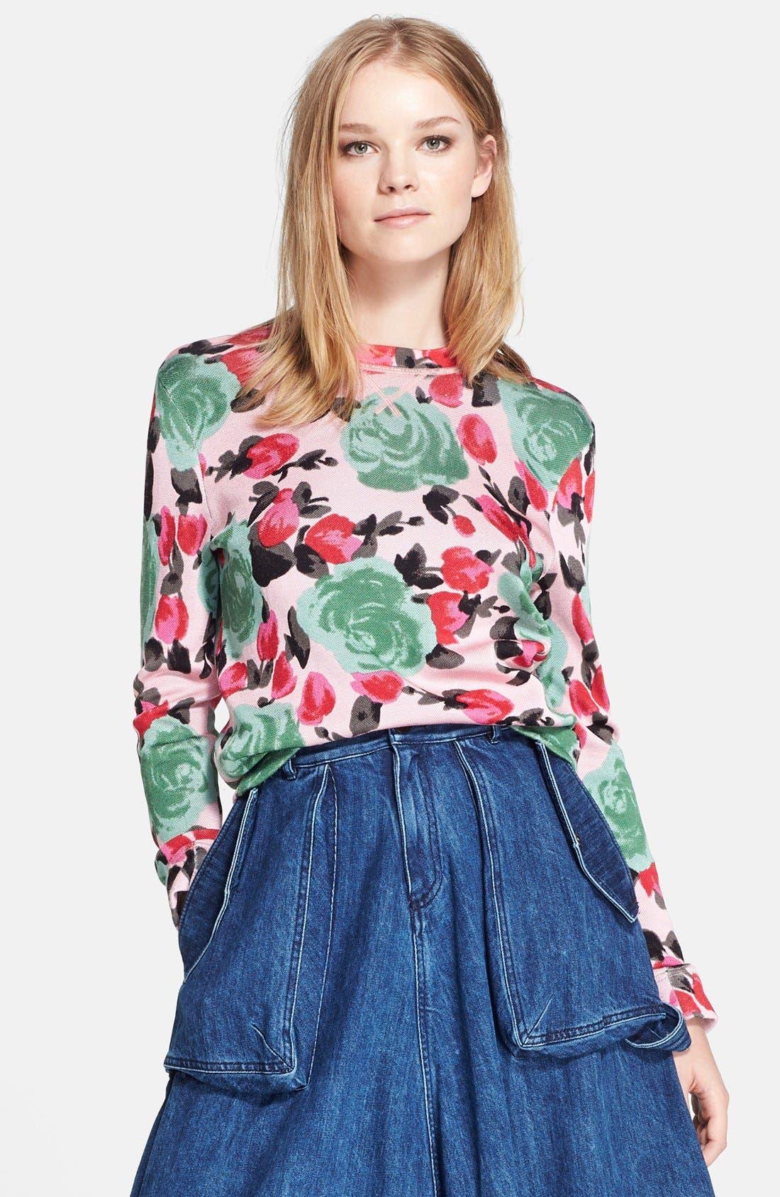 MARC BY MARC JACOBS 'Jerrie Rose' Floral Print Crewneck Sweatshirt, Main, color, 681