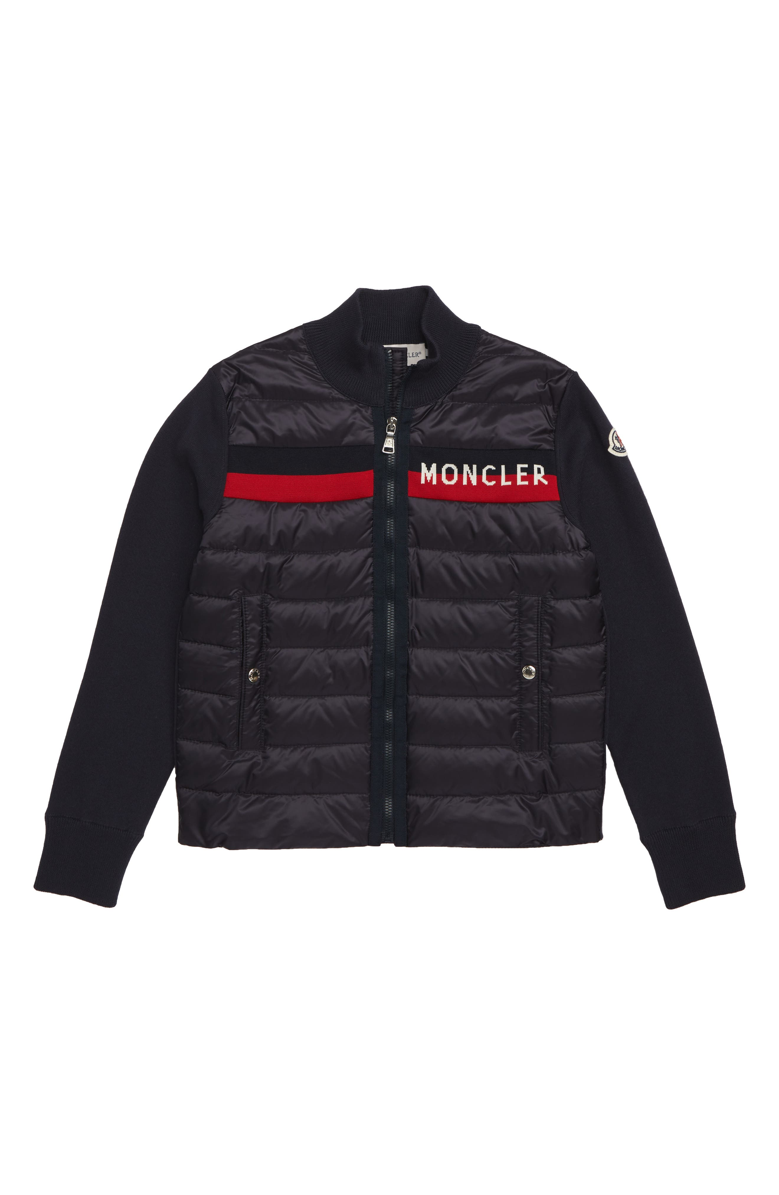 MONCLER, Maglia Quilted Down Jacket, Main thumbnail 1, color, 742 NAVY