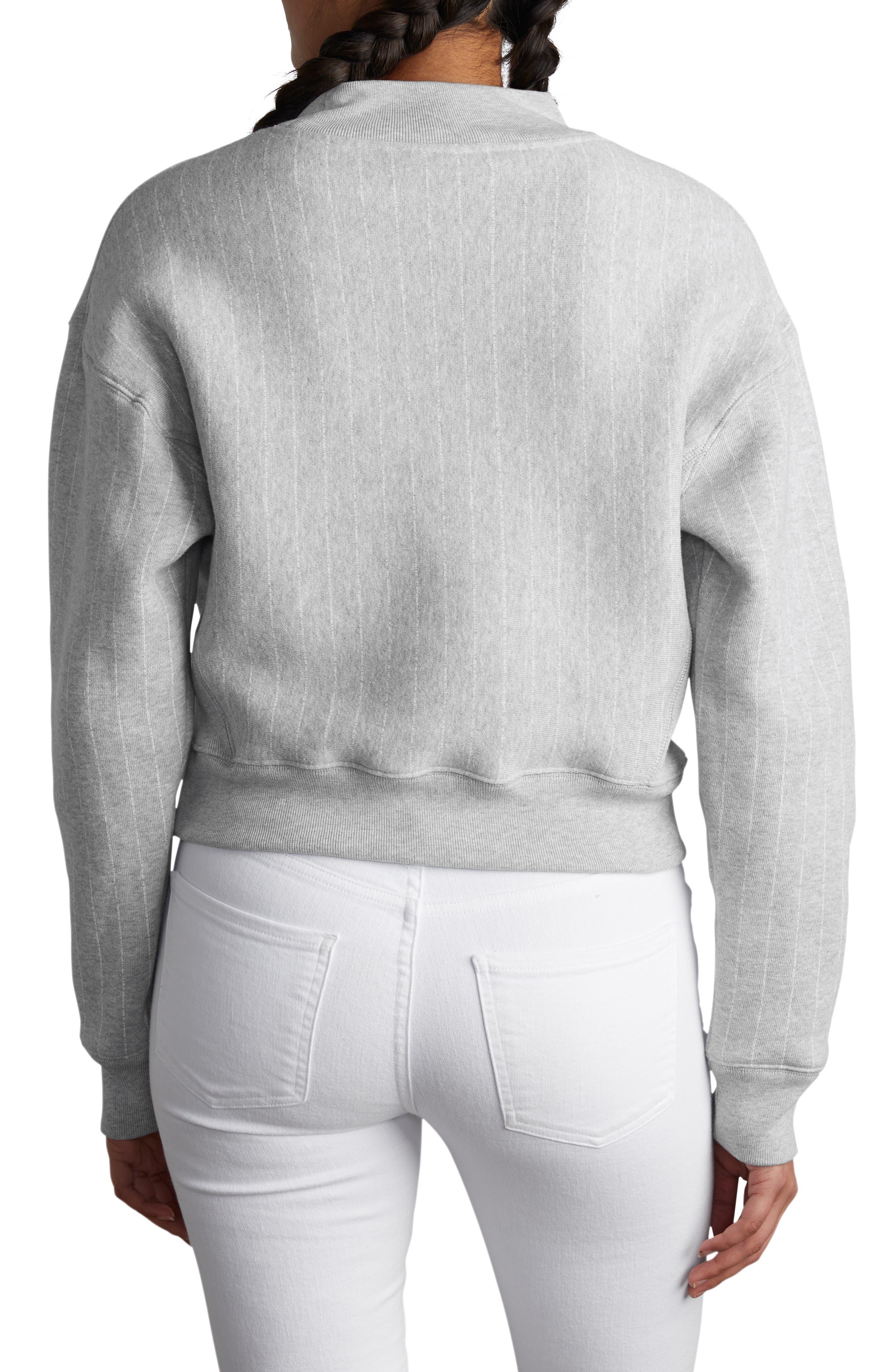 CHAMPION, Mock Neck Reverse Panel Crop Sweatshirt, Alternate thumbnail 2, color, PINSTRIPE OXFORD GREY