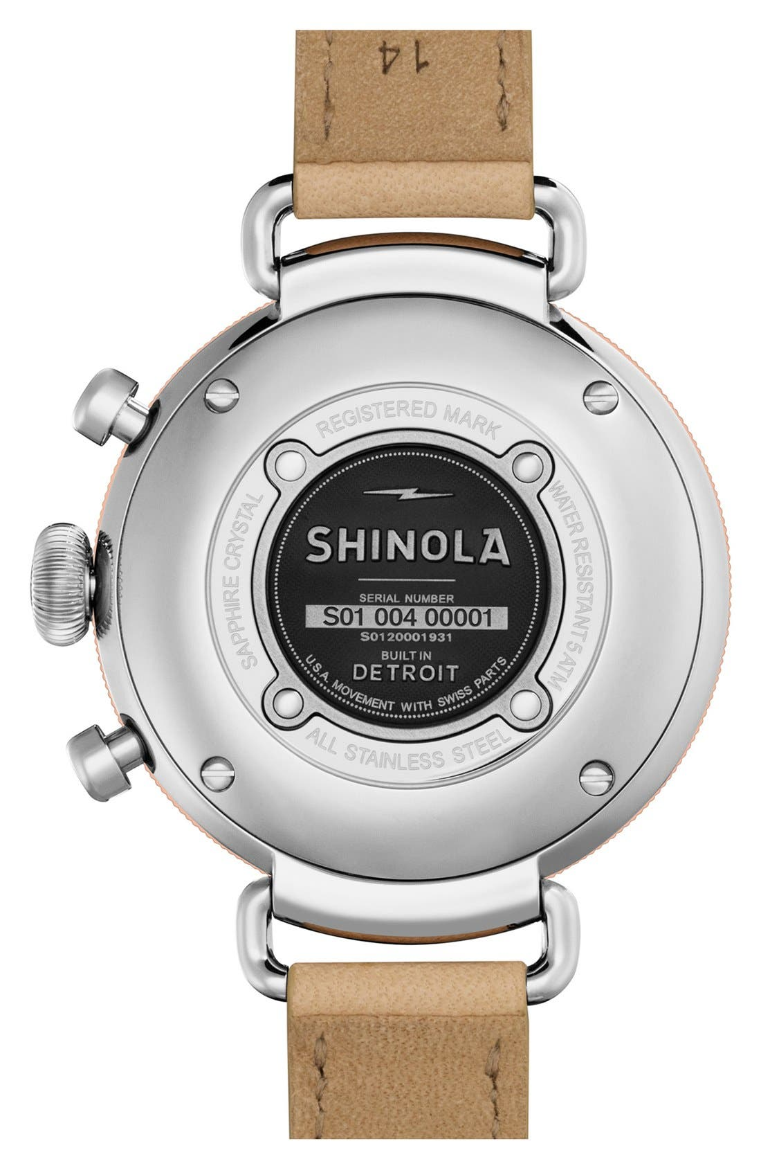 SHINOLA, 'The Canfield Chrono' Leather Strap Watch, 38mm, Alternate thumbnail 2, color, NATURAL/ MIDNIGHT BLUE