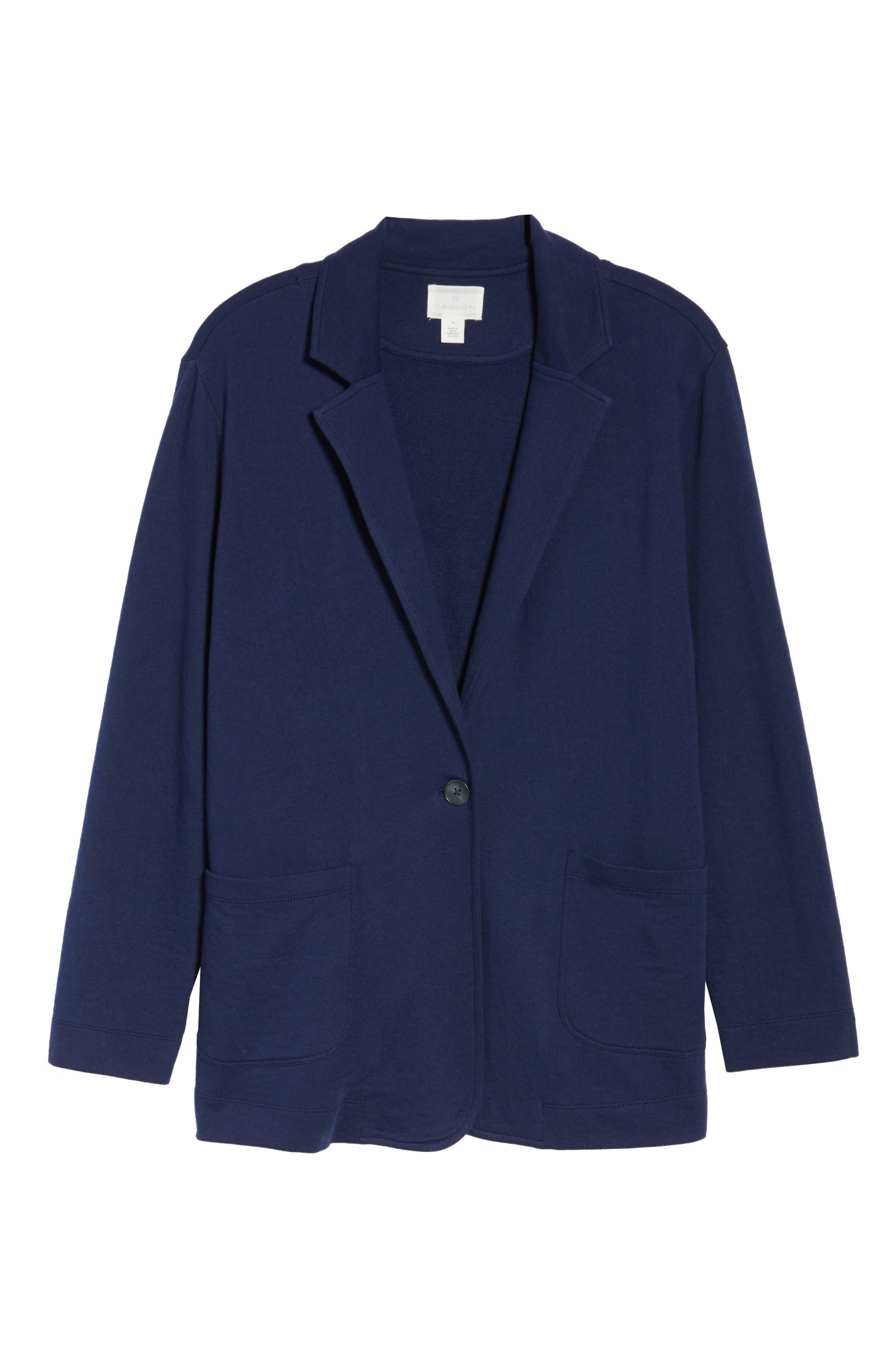 CASLON<SUP>®</SUP>, Double Pocket Knit Blazer, Alternate thumbnail 6, color, NAVY PEACOAT
