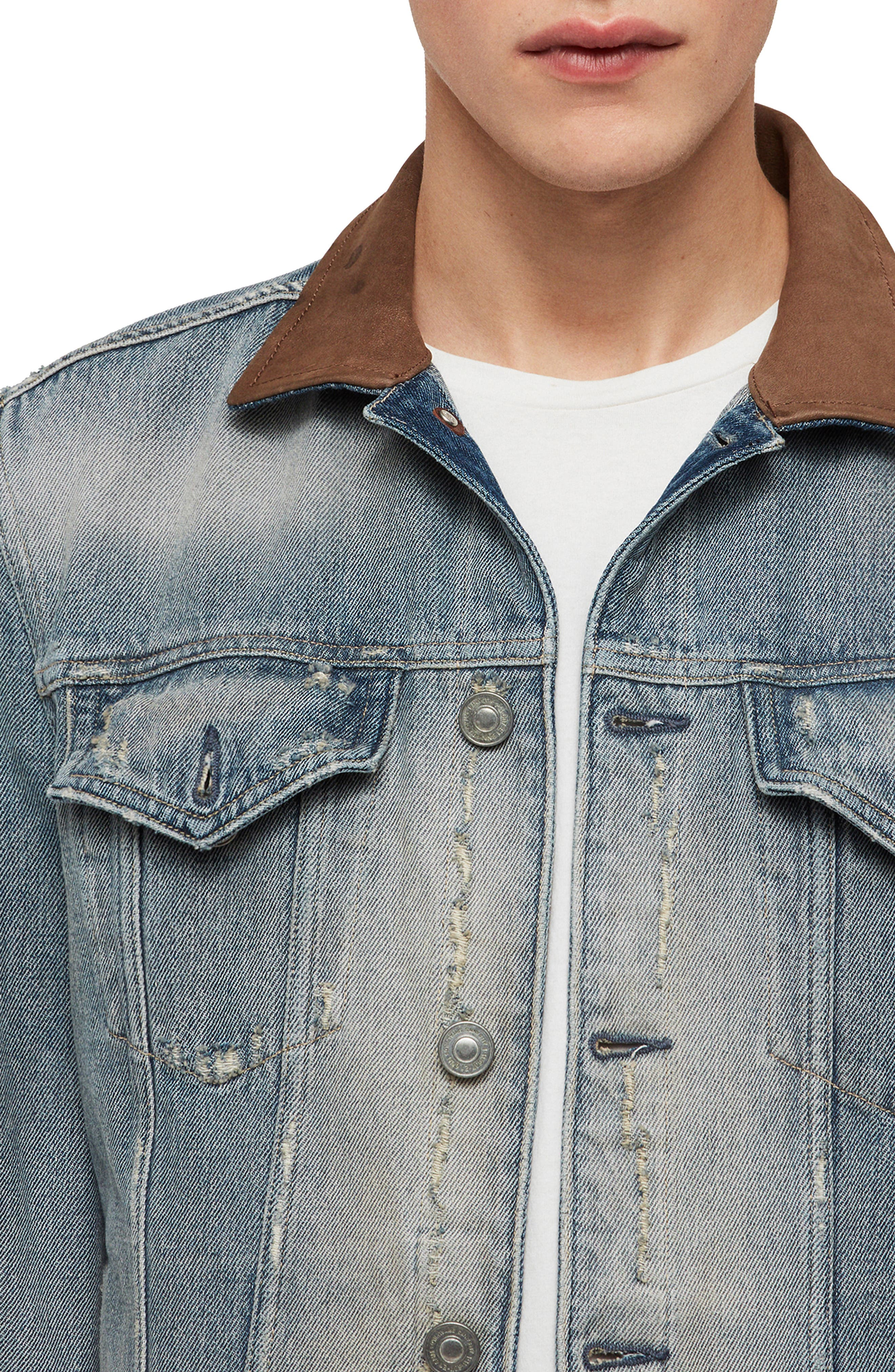 ALLSAINTS, Iren Slim Fit Denim Jacket with Leather Collar, Alternate thumbnail 4, color, MID INDIGO BLUE
