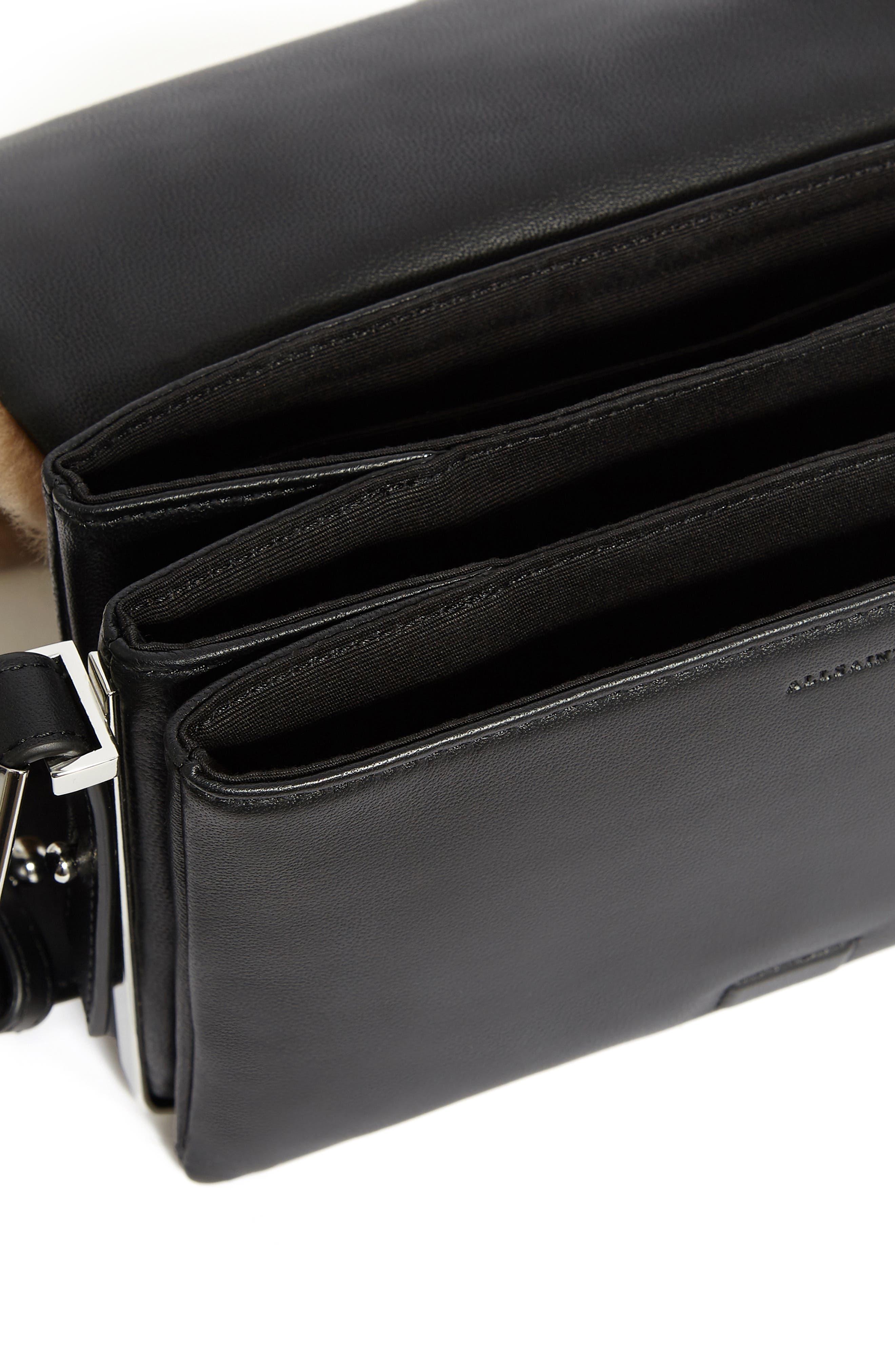 ALLSAINTS, Versailles Leather & Genuine Shearling Shoulder Bag, Alternate thumbnail 3, color, CAMEL