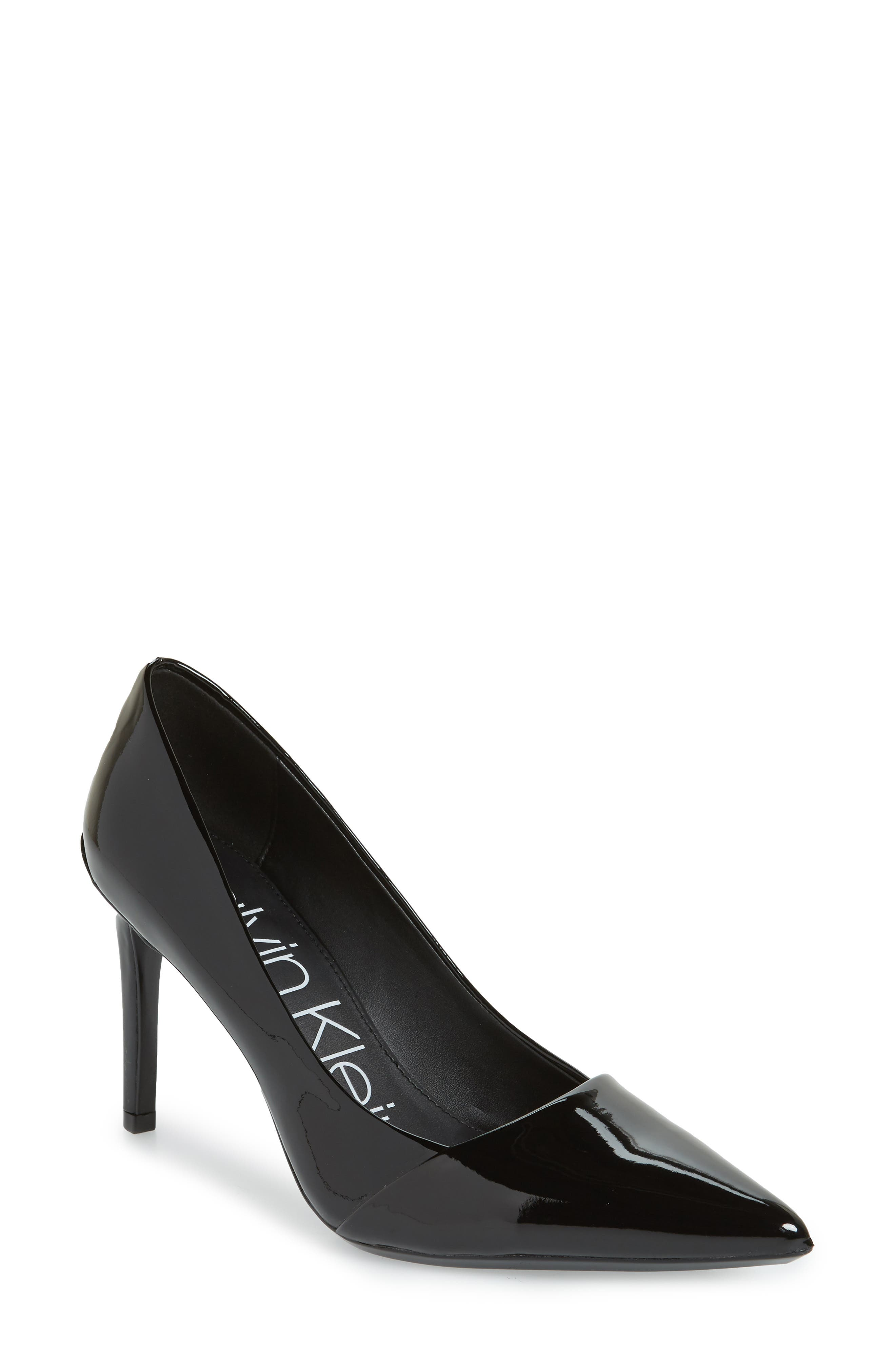 CALVIN KLEIN, Roslyn Pointed Toe Pump, Main thumbnail 1, color, BLACK PATENT LEATHER