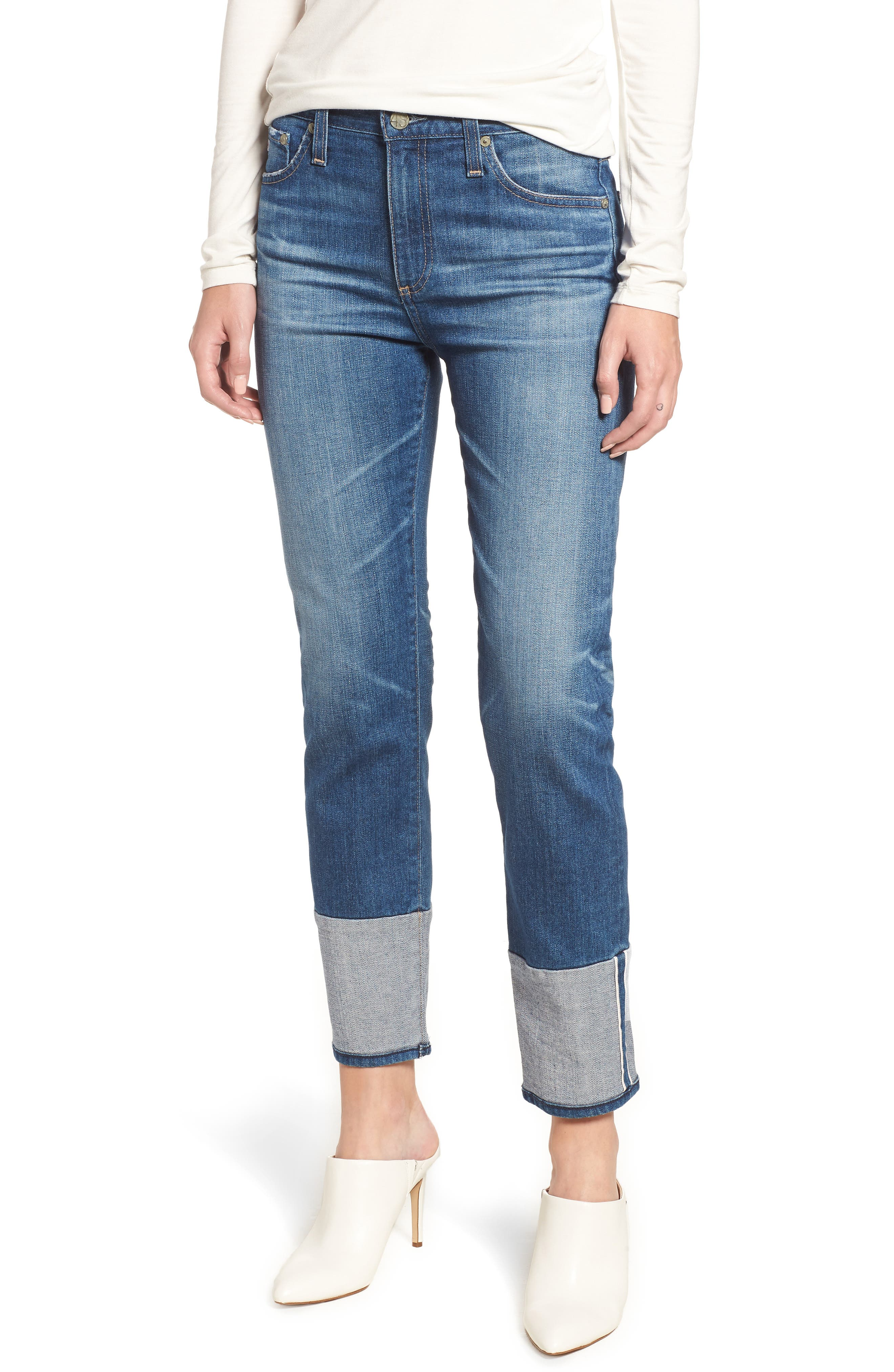 AG The Isabelle High Waist Cuff Crop Straight Leg Jeans, Main, color, 415