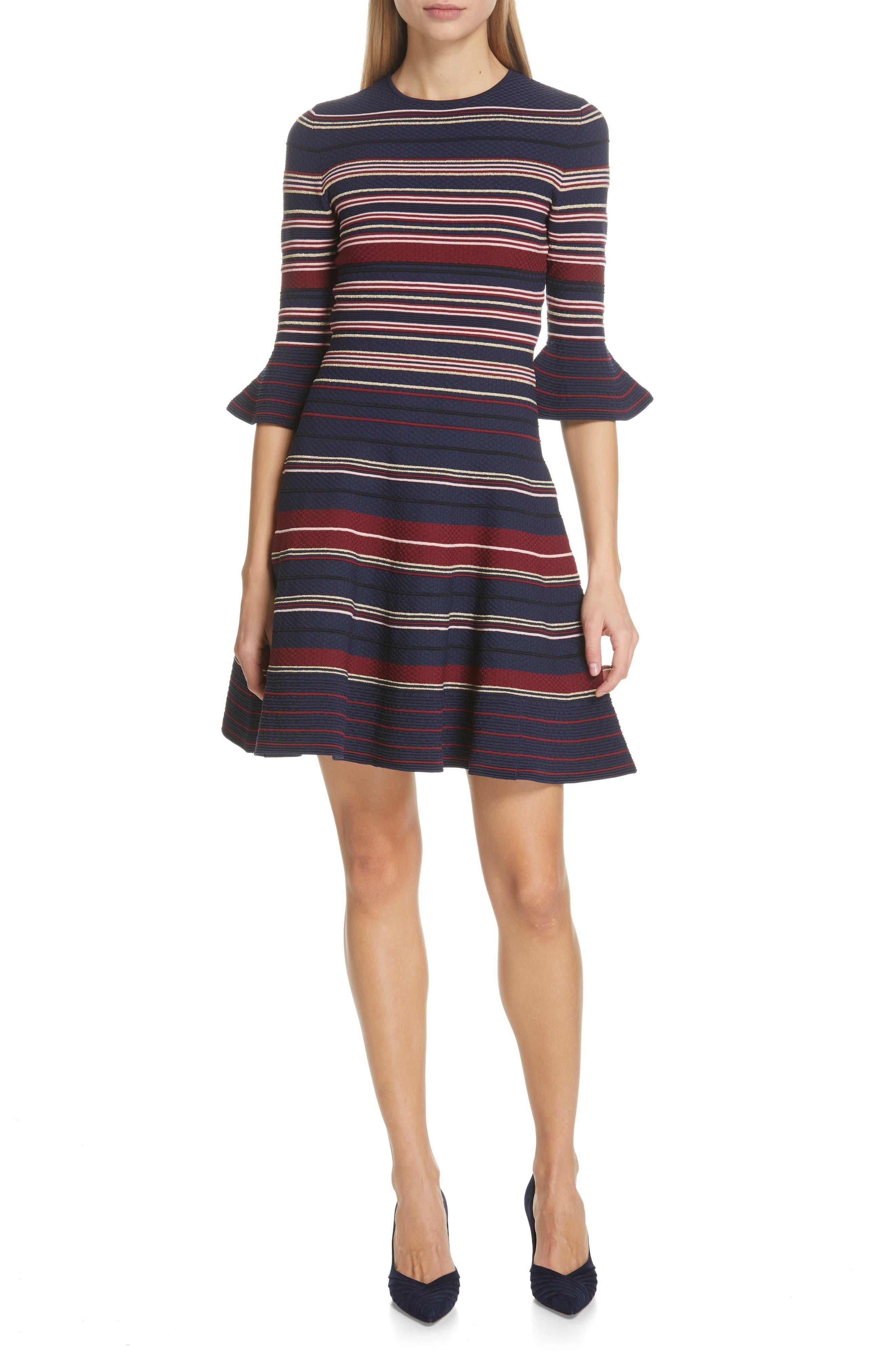 Ted Baker London Tayiny Stripe Ottoman Dress, Blue