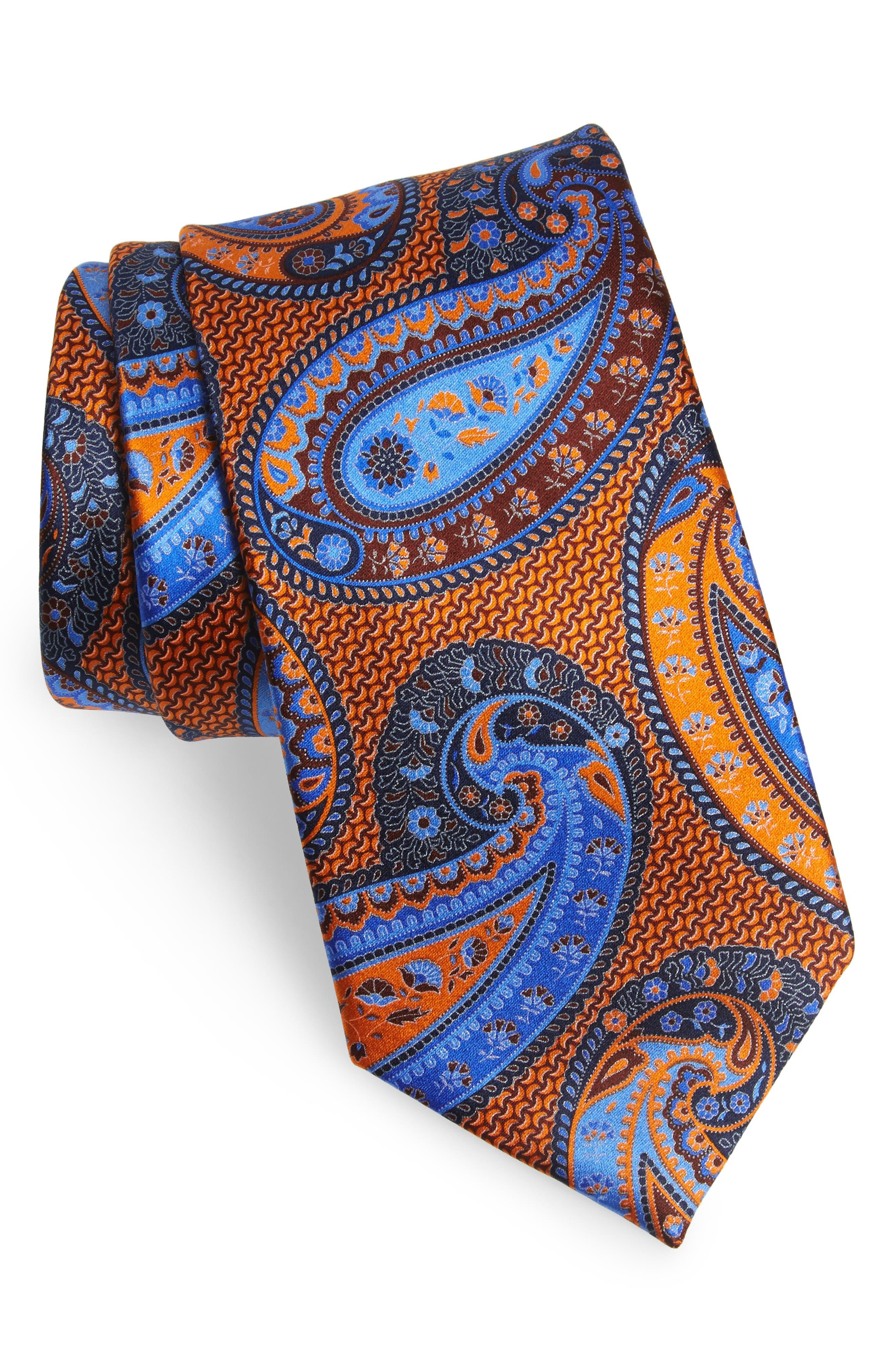 ERMENEGILDO ZEGNA, Paisley Silk Tie, Main thumbnail 1, color, ORANGE