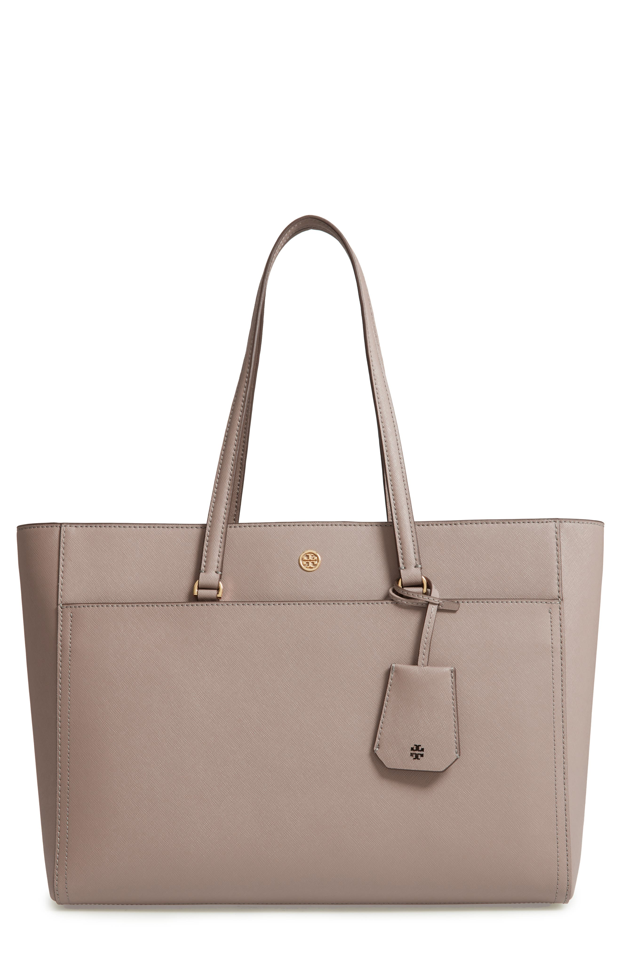 TORY BURCH Robinson Leather Tote, Main, color, GRAY HERON