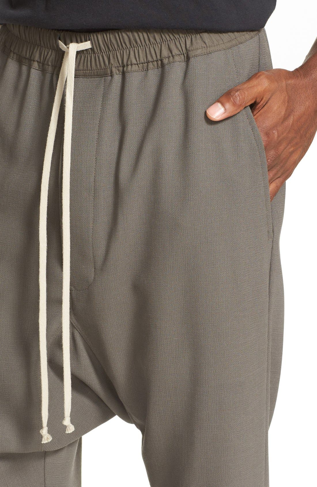 RICK OWENS, Drop Crotch Wool Pants, Alternate thumbnail 3, color, 021