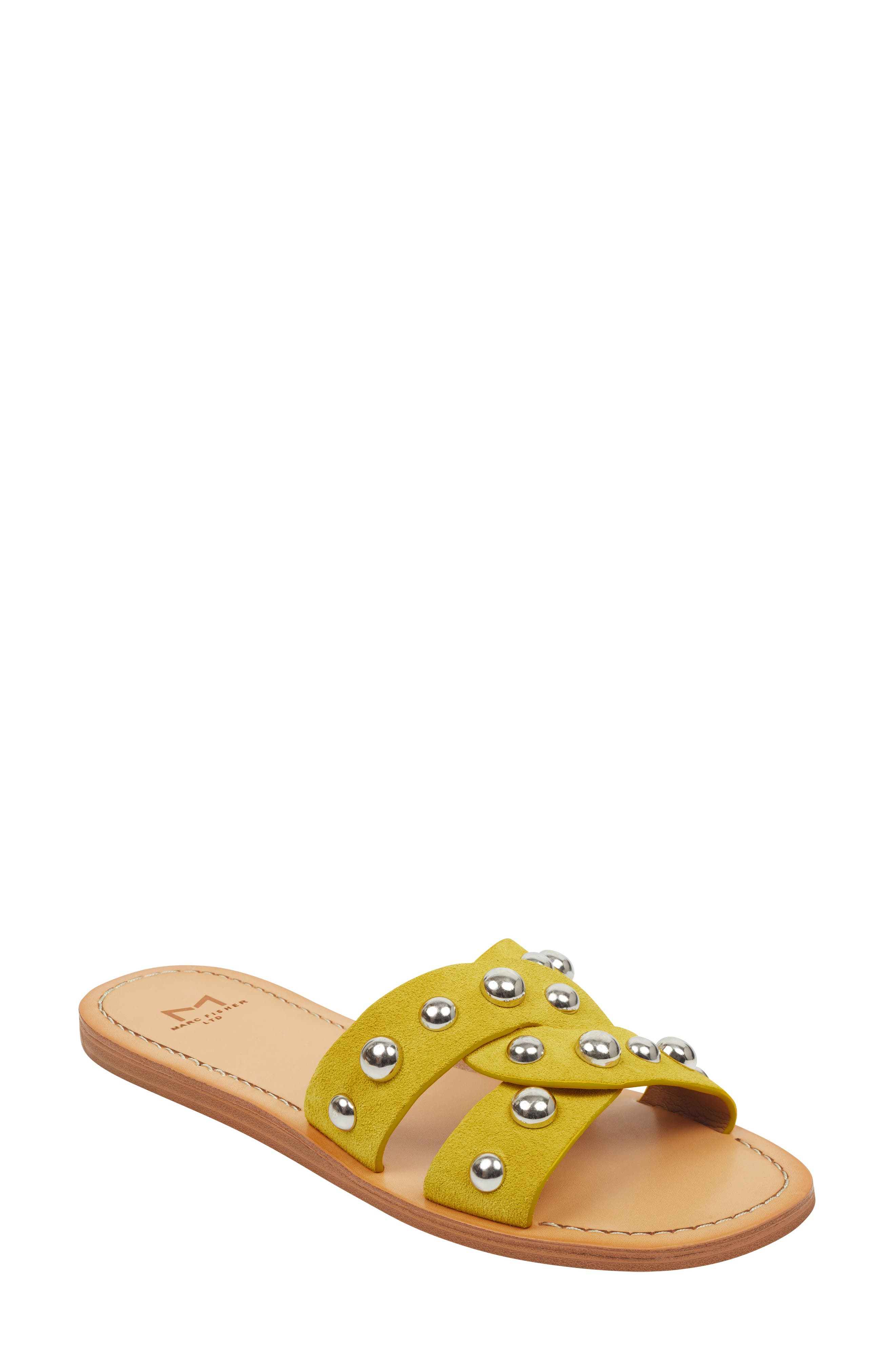 MARC FISHER LTD Pagie Slide Sandal, Main, color, YELLOW SUEDE