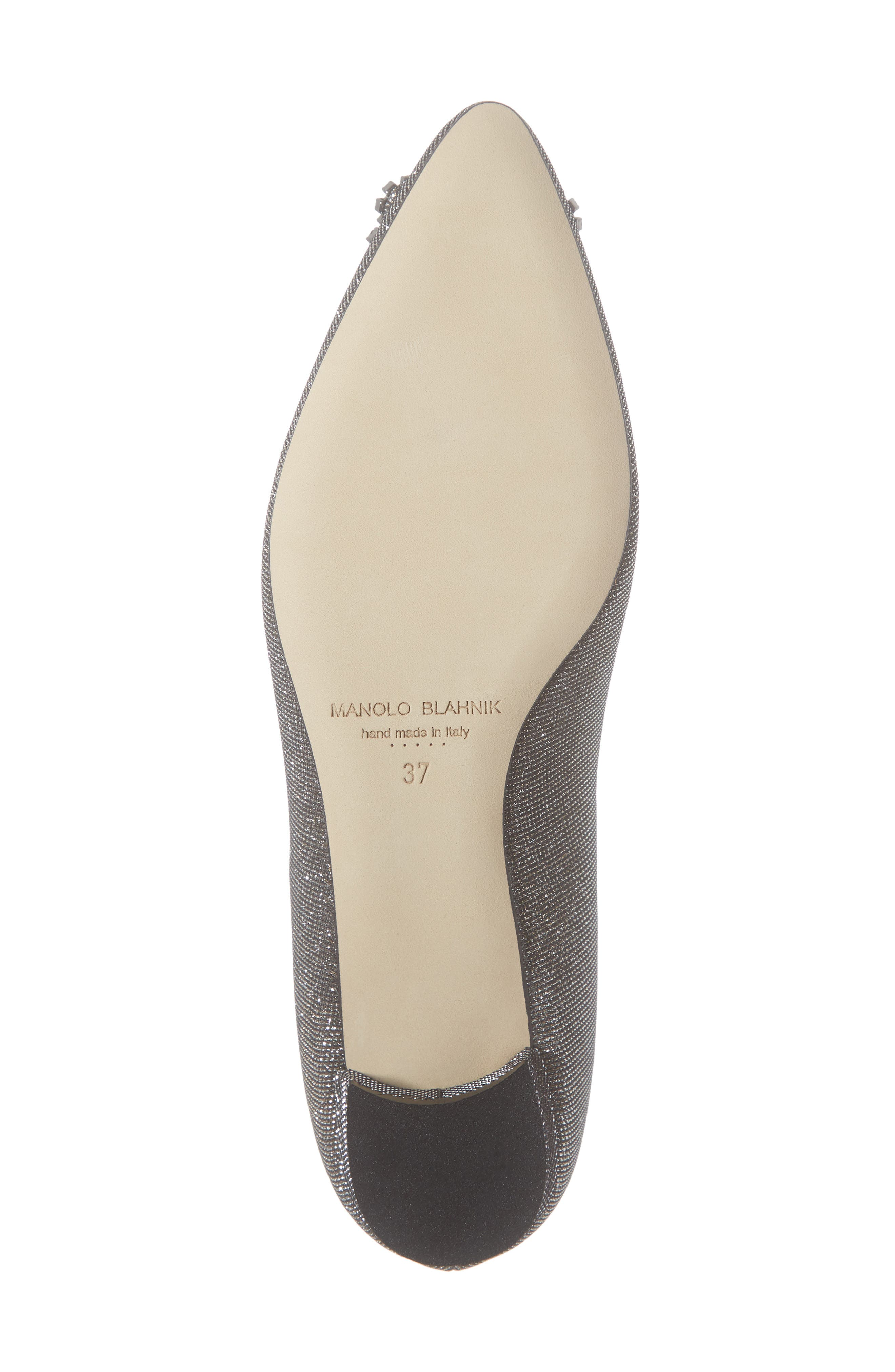MANOLO BLAHNIK, 'Hangisi' Jeweled Pointy Toe Flat, Alternate thumbnail 6, color, BRONZE NOTTURNO