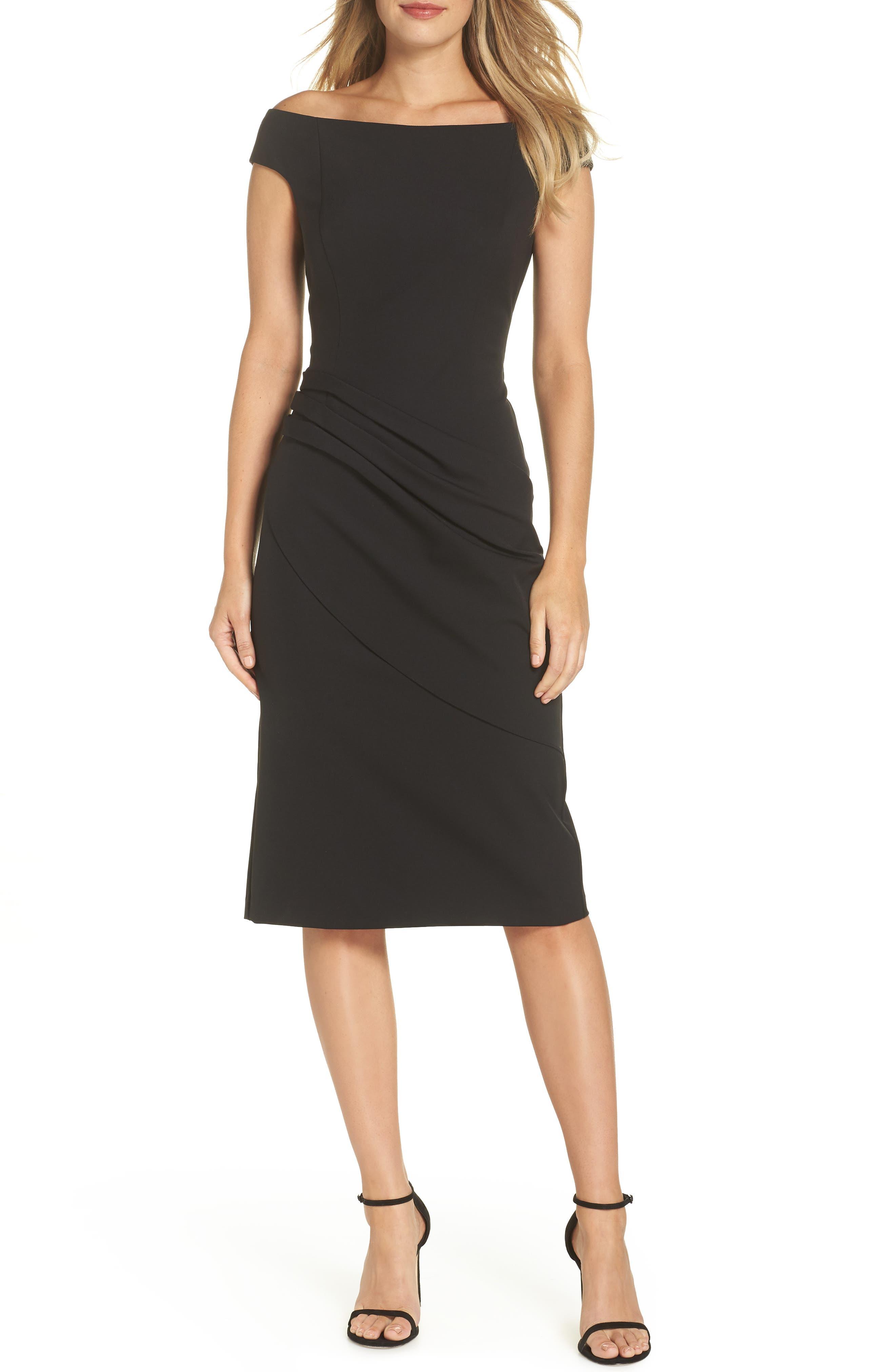 ELIZA J Off the Shoulder Sheath Dress, Main, color, BLACK