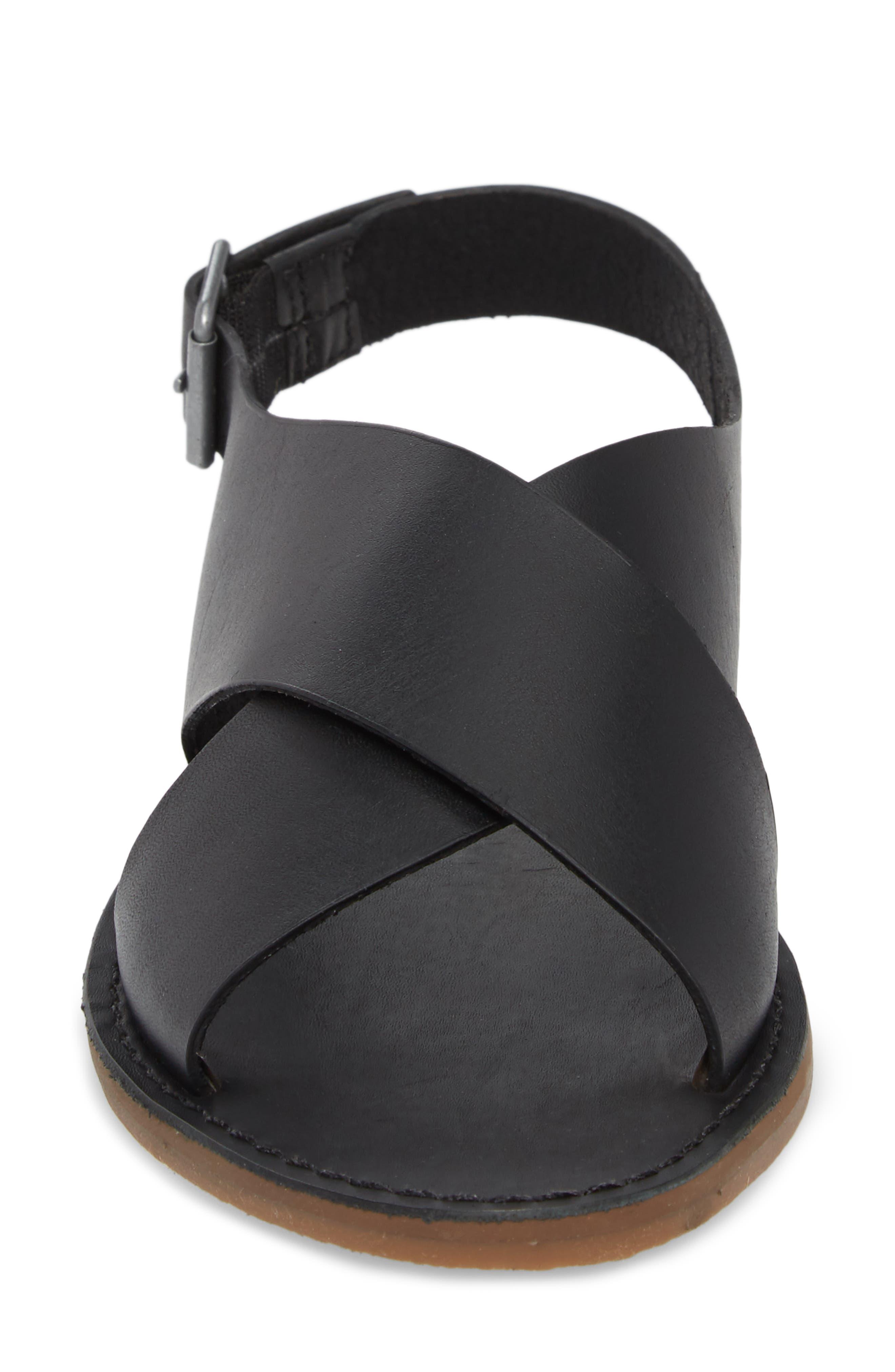 MADEWELL, Boardwalk Flat Sandal, Alternate thumbnail 4, color, TRUE BLACK