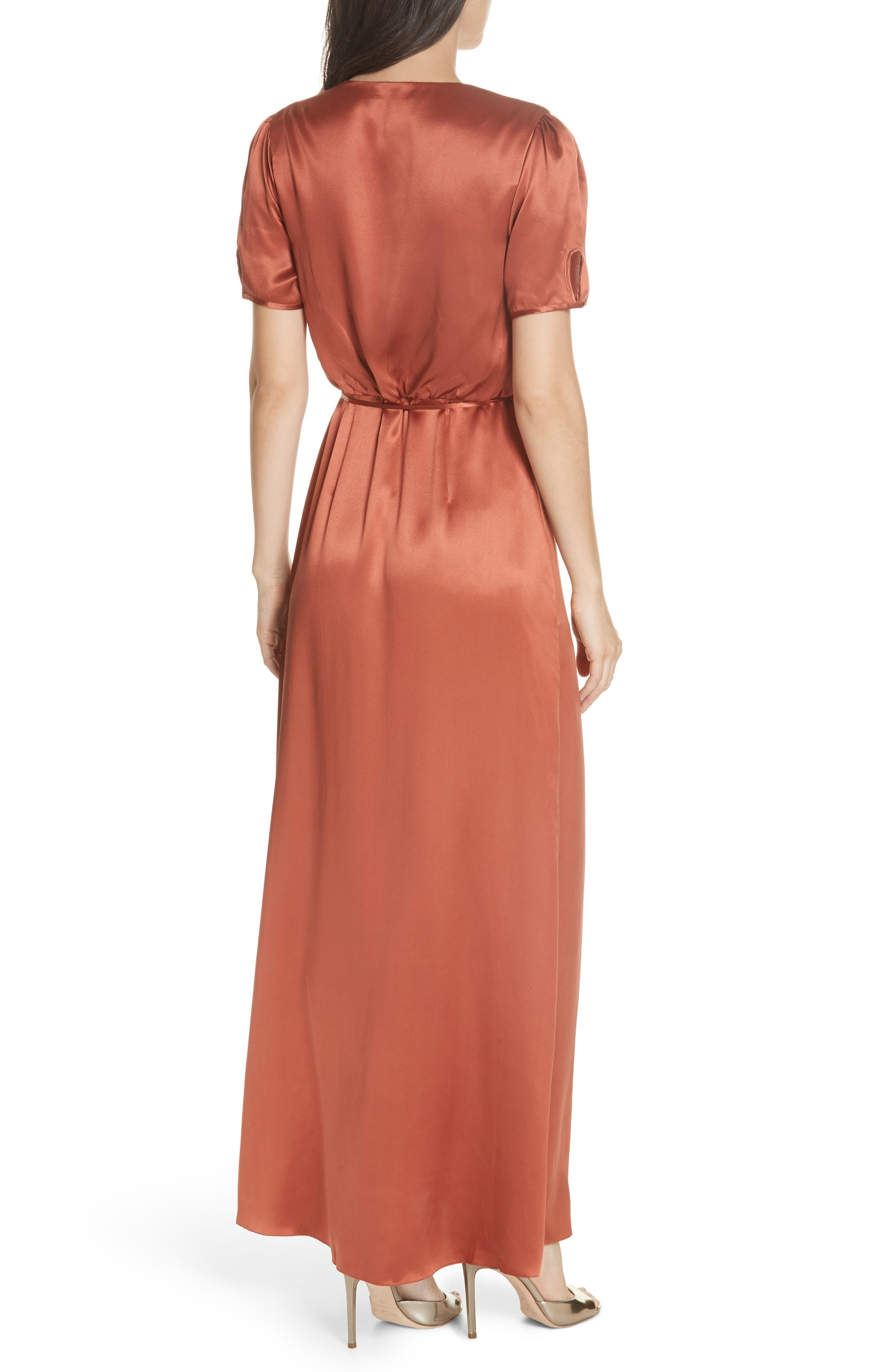 SALONI, Lea Silk Wrap Dress, Alternate thumbnail 2, color, DEEP RUSH