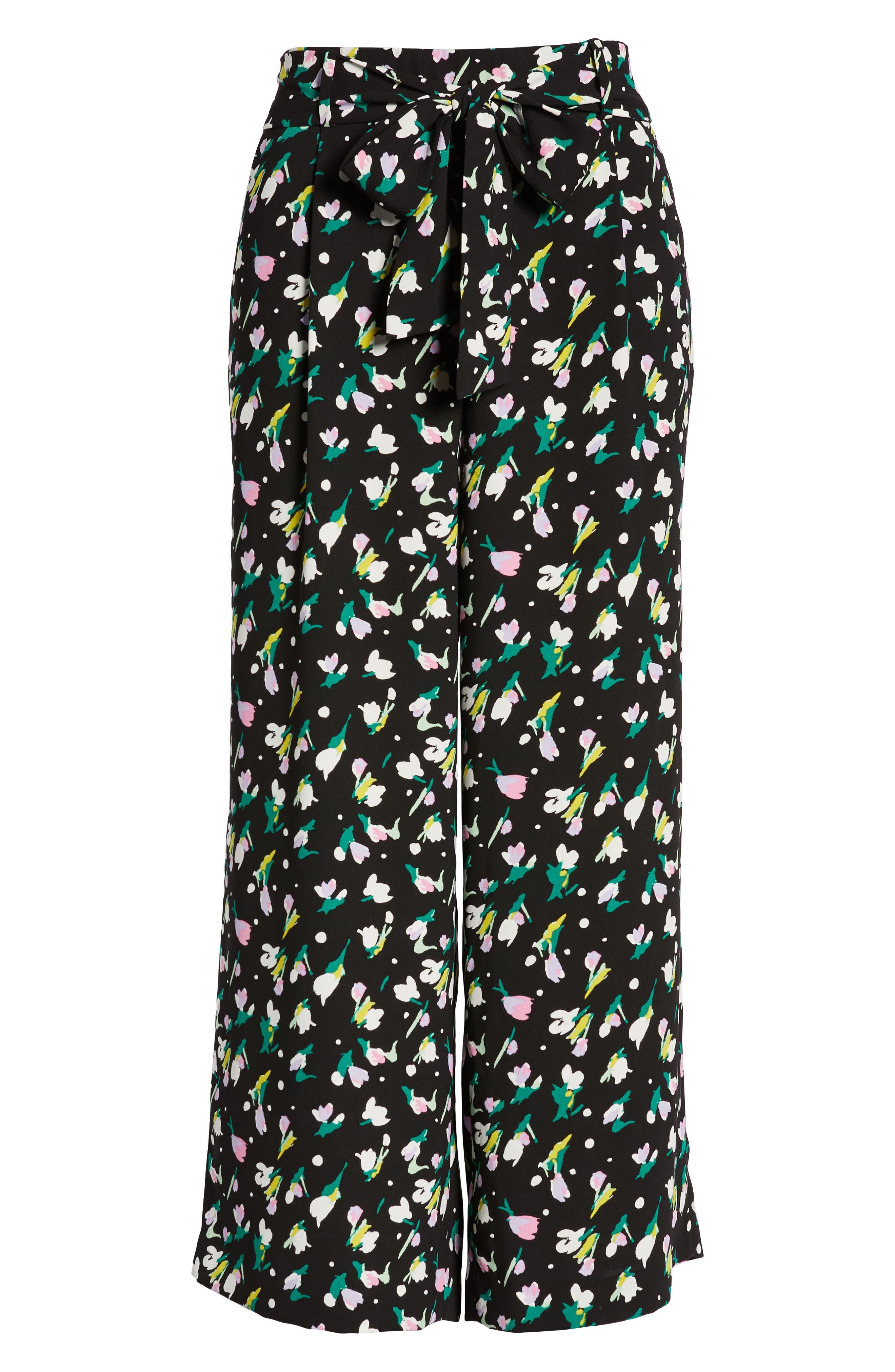 HALOGEN<SUP>®</SUP>, Wide Leg Crop Pants, Alternate thumbnail 7, color, BLACK TINY TULIP PRINT